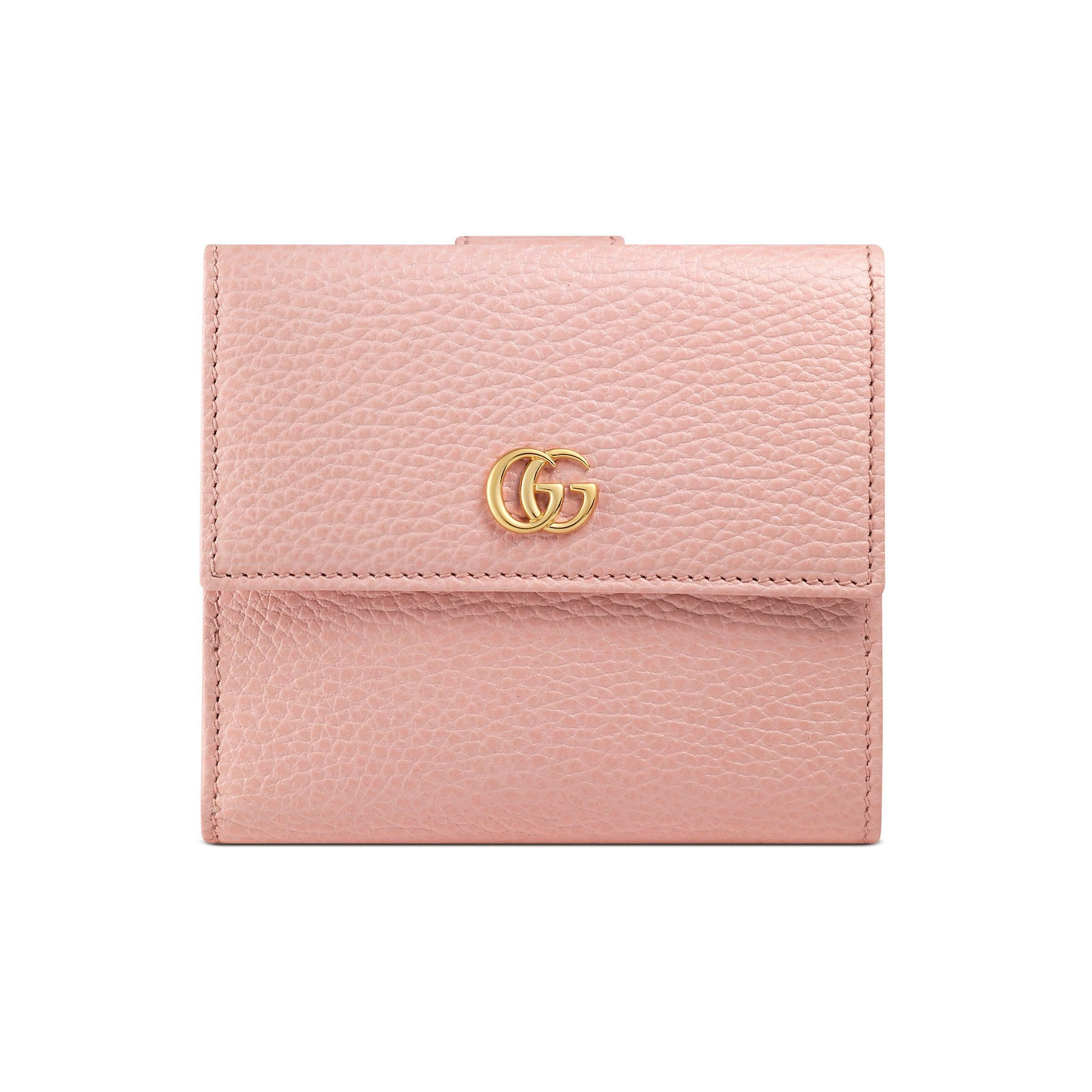 33bec23c1e3b1e Gucci Leather French Flap Wallet in Pink - Lyst