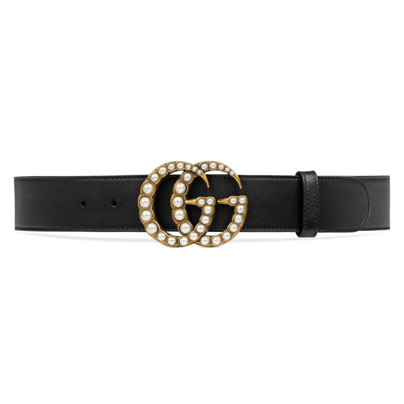 ac59f5682e3 Lyst - Gucci Leather Belt With Pearl Double G in Black - Save 7%