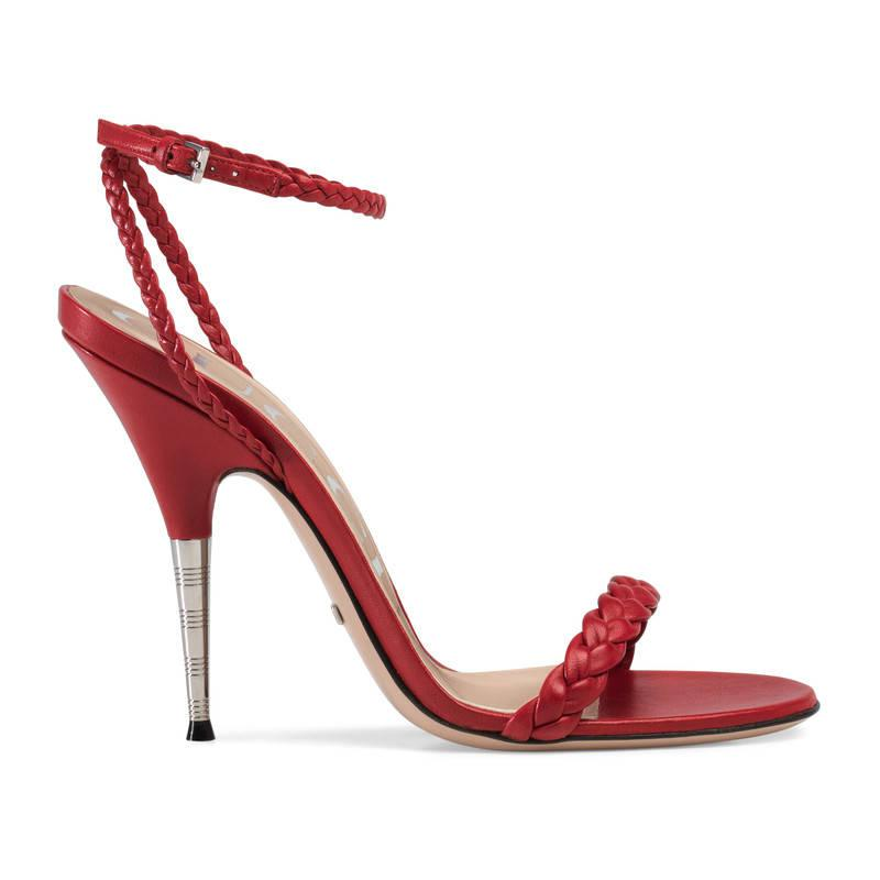 092ff13c3b0 Lyst - Gucci Braided Leather Sandal in Red