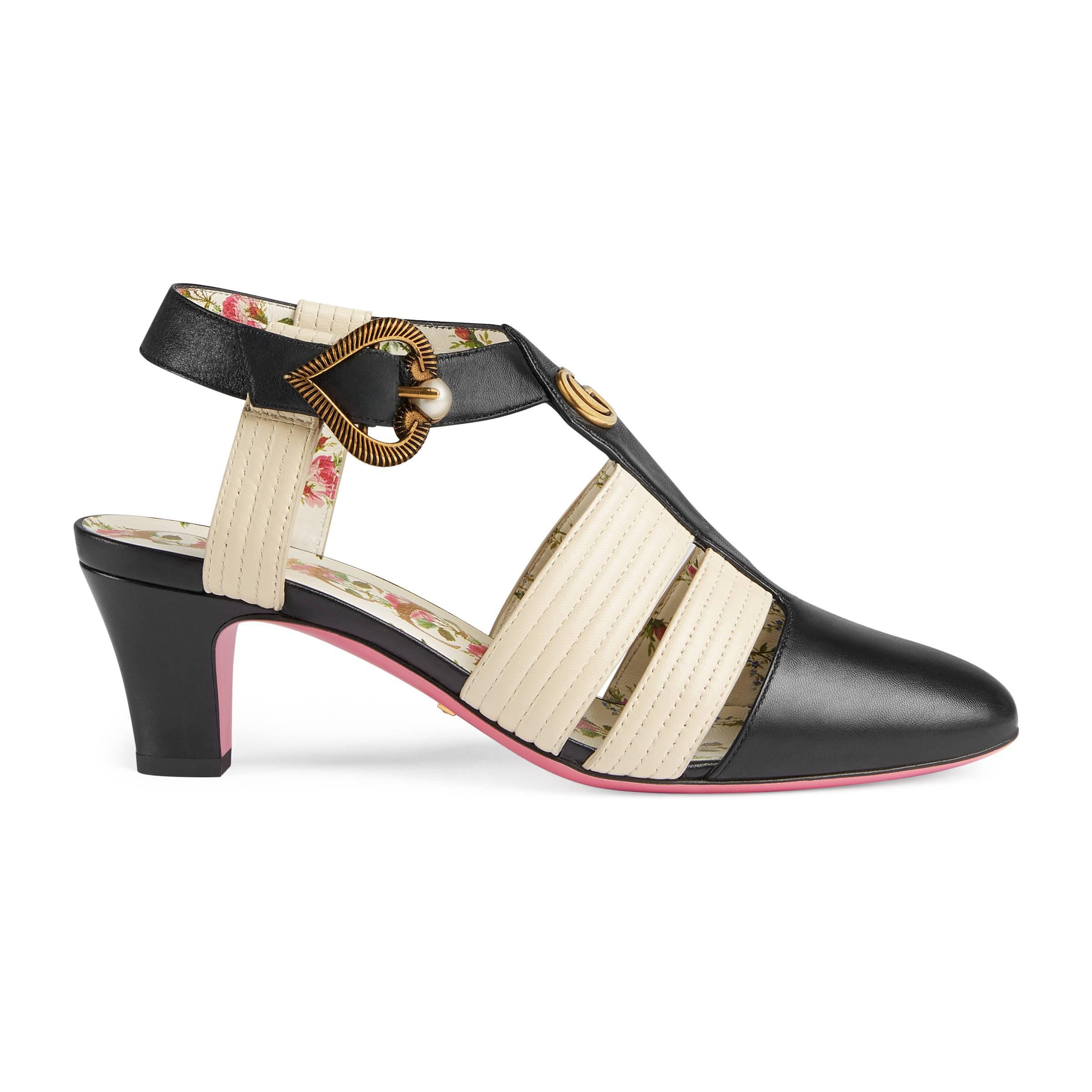 ae2d6617c Gucci Leather Mid-heel T-strap Sandal in Black - Lyst