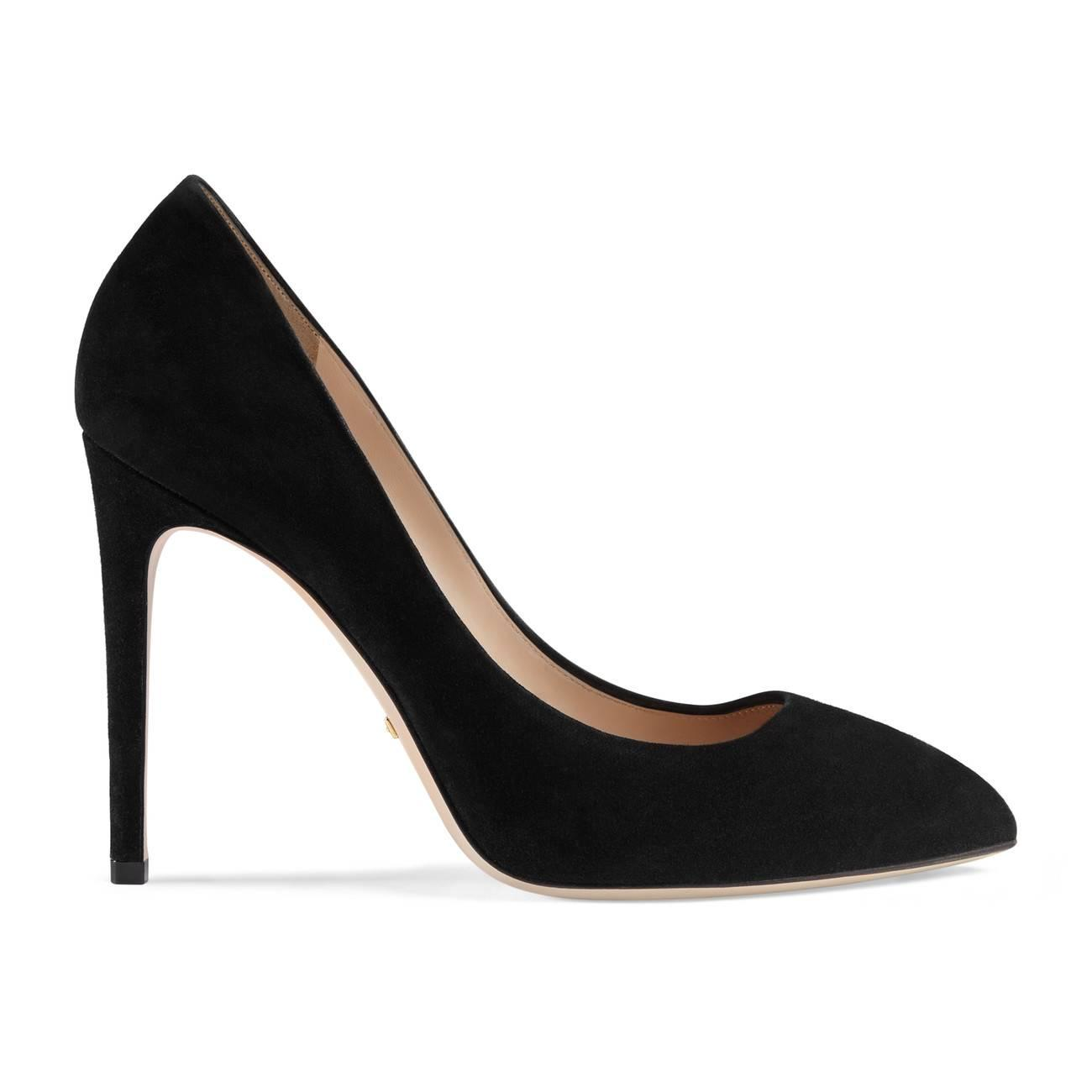d4d0a899f13 Lyst - Gucci Suede Pump With Removable Web Bow in Black