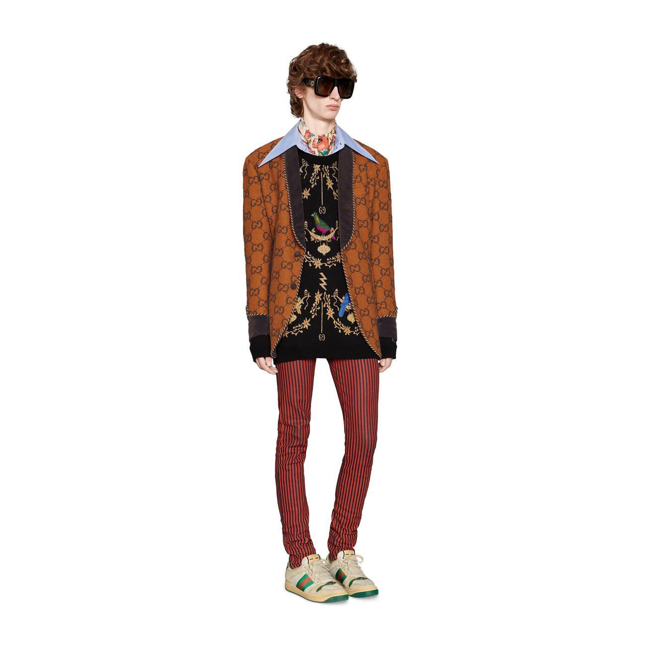 246b74a554a Gucci - Metallic Voliére Wool Jacquard Sweater for Men - Lyst. View  fullscreen