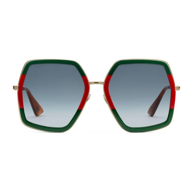 86a40fb82e3f Gucci Oversize Square-frame Metal Sunglasses in Green - Save 22% - Lyst
