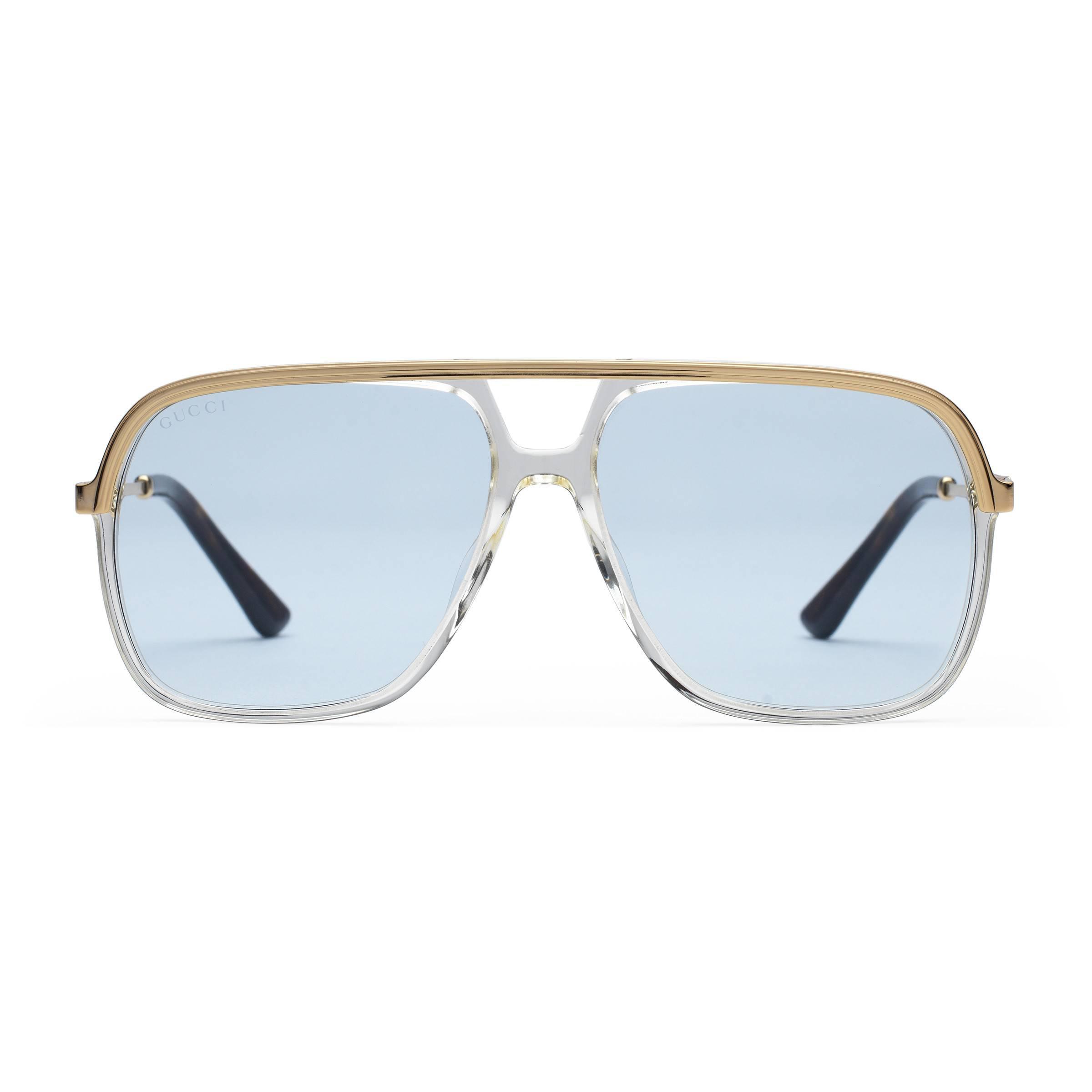 4ef1dee7bcf137 Lyst - Lunettes de soleil rectangulaires en métal Gucci pour homme ...