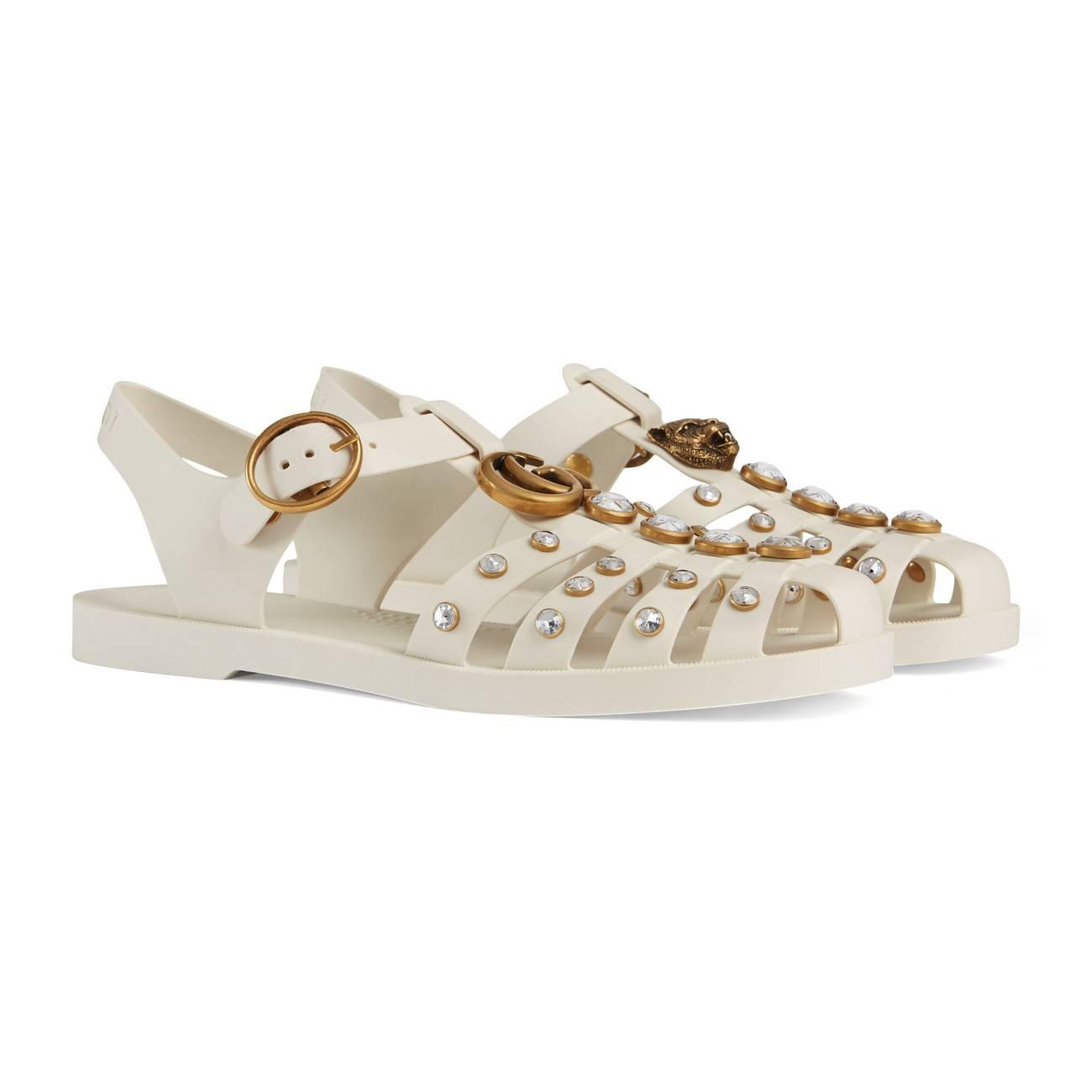 93e74fc3cae4 Gucci - White Rubber Sandal With Crystals - Lyst. View fullscreen