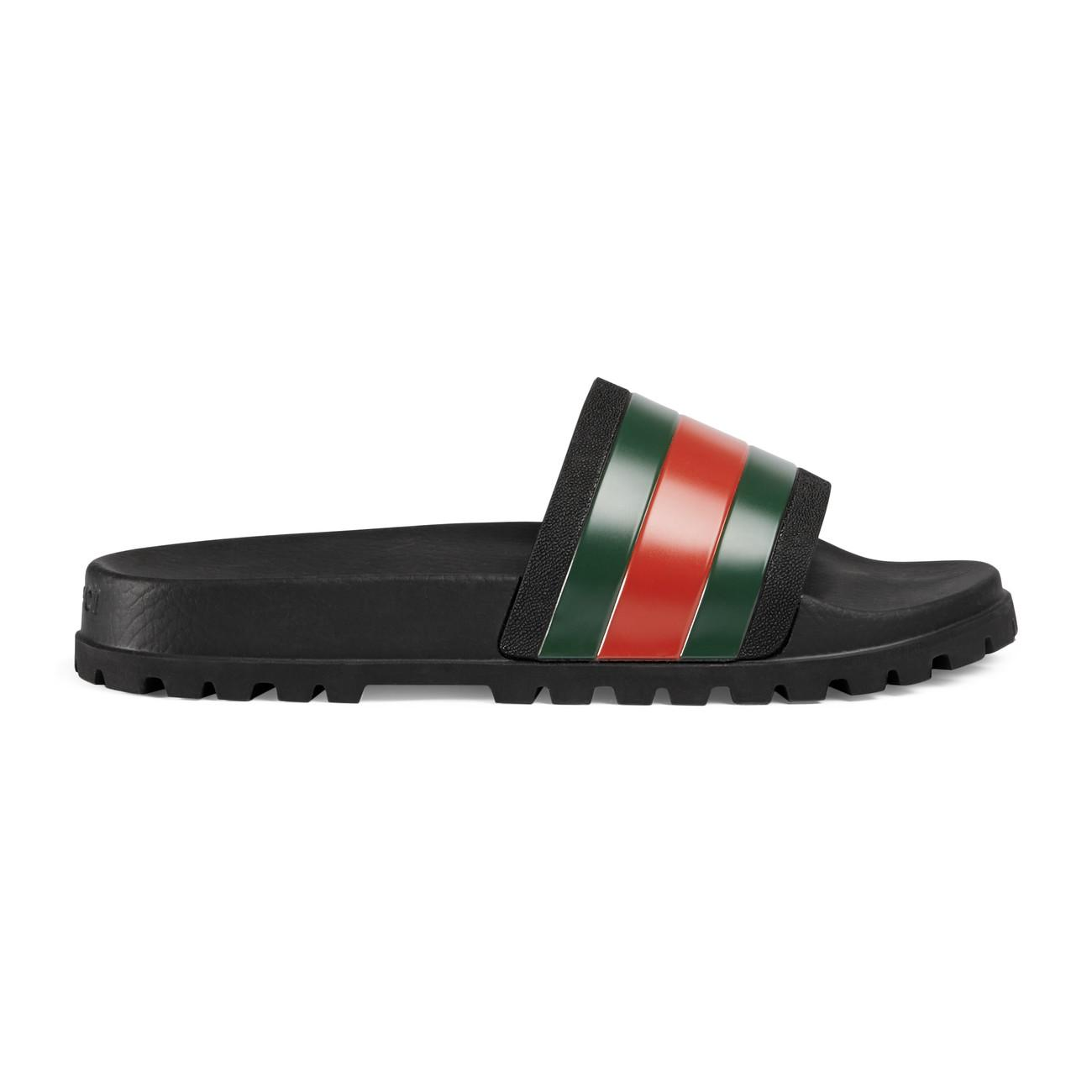 b5245e4c02e Lyst - Gucci Web Slide Sandal in Black for Men