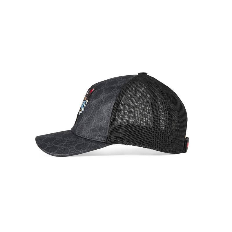 ed34ac85681 Lyst - Gucci Gg Supreme Baseball Hat With Angry Cat in Black for Men