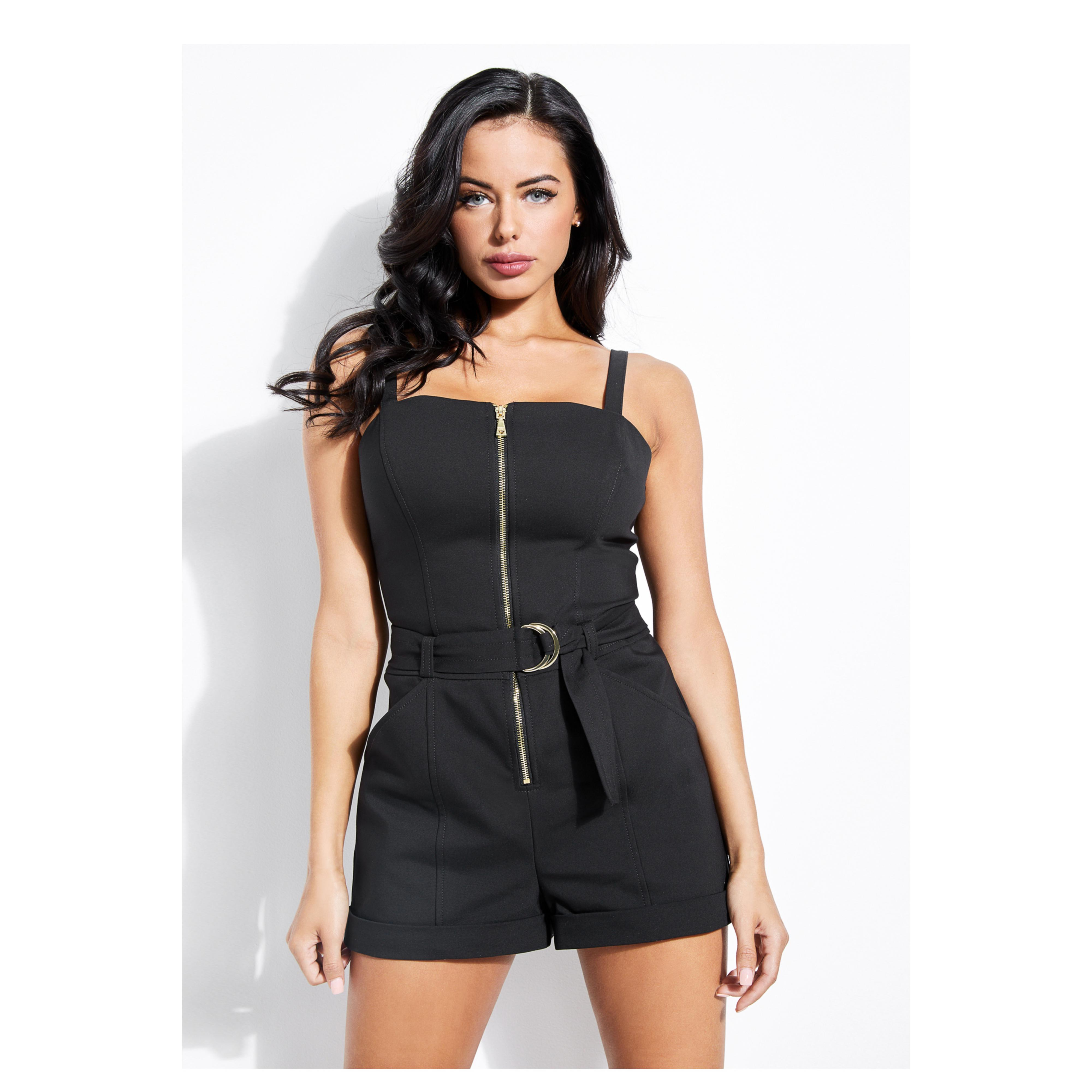 86c51343ab8 Guess Sage Zip-front Romper in Black - Lyst