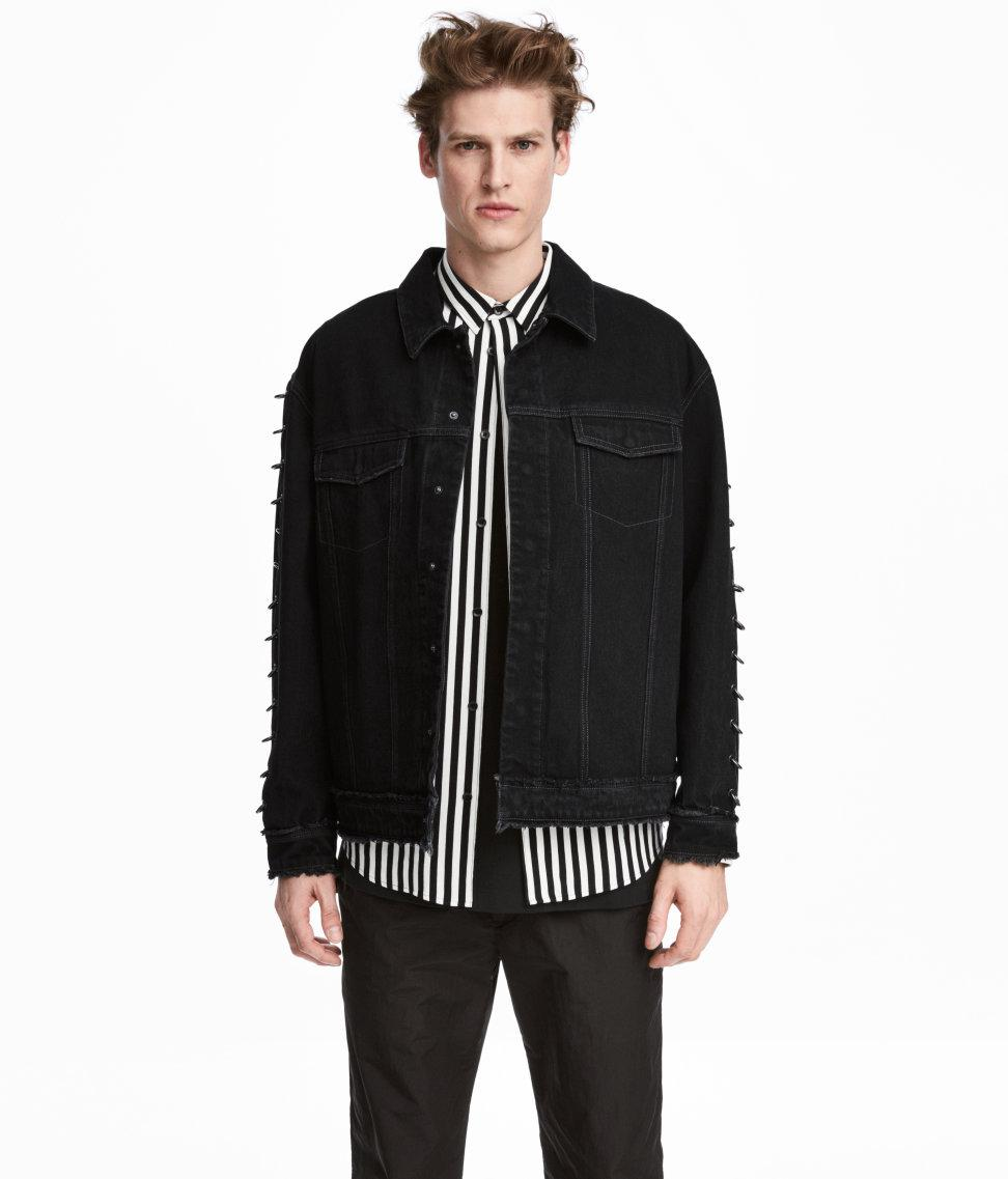 Lyst H M Denim Jacket With Metal Rings In Black For Men