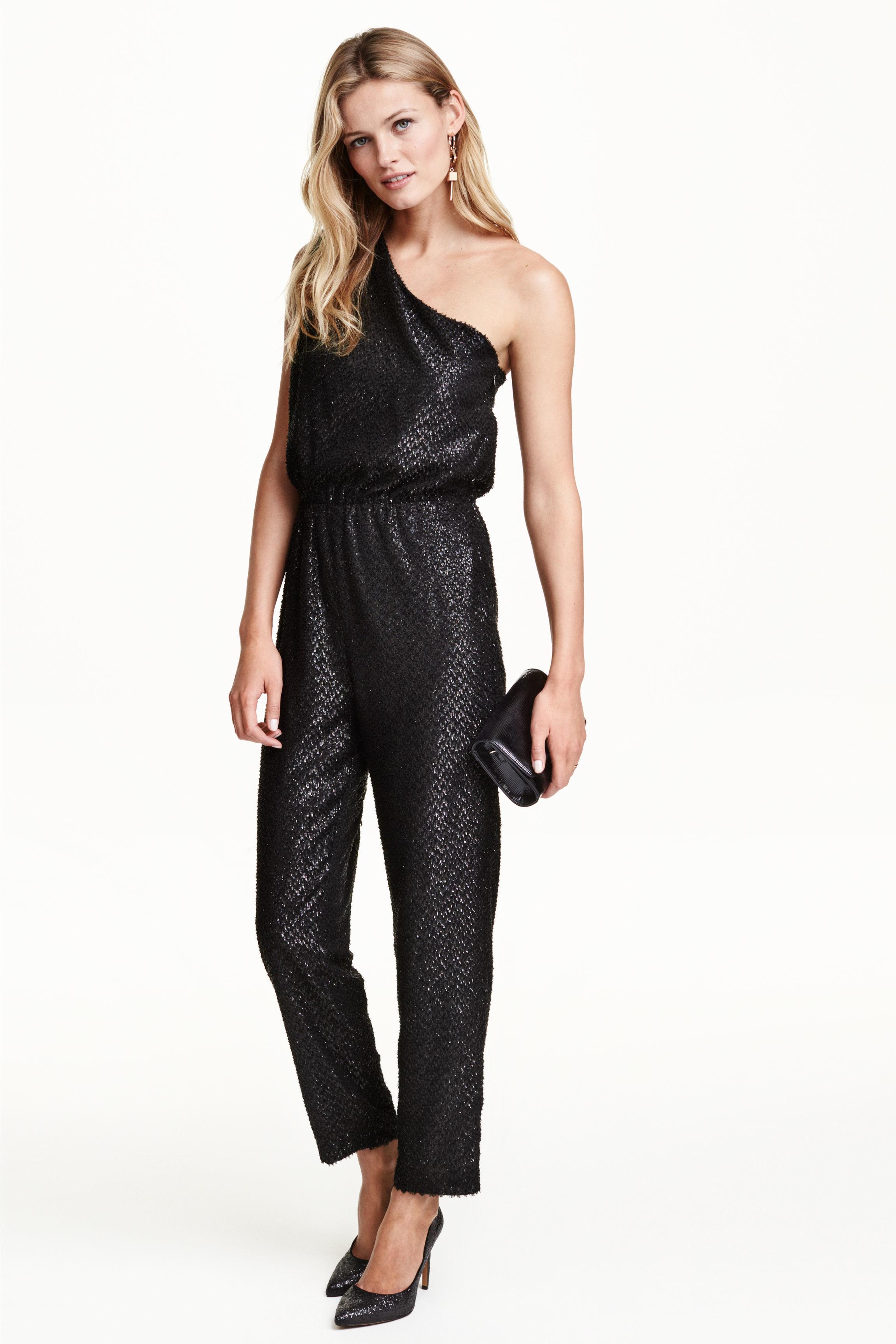 h m one shoulder jumpsuit in gray lyst. Black Bedroom Furniture Sets. Home Design Ideas