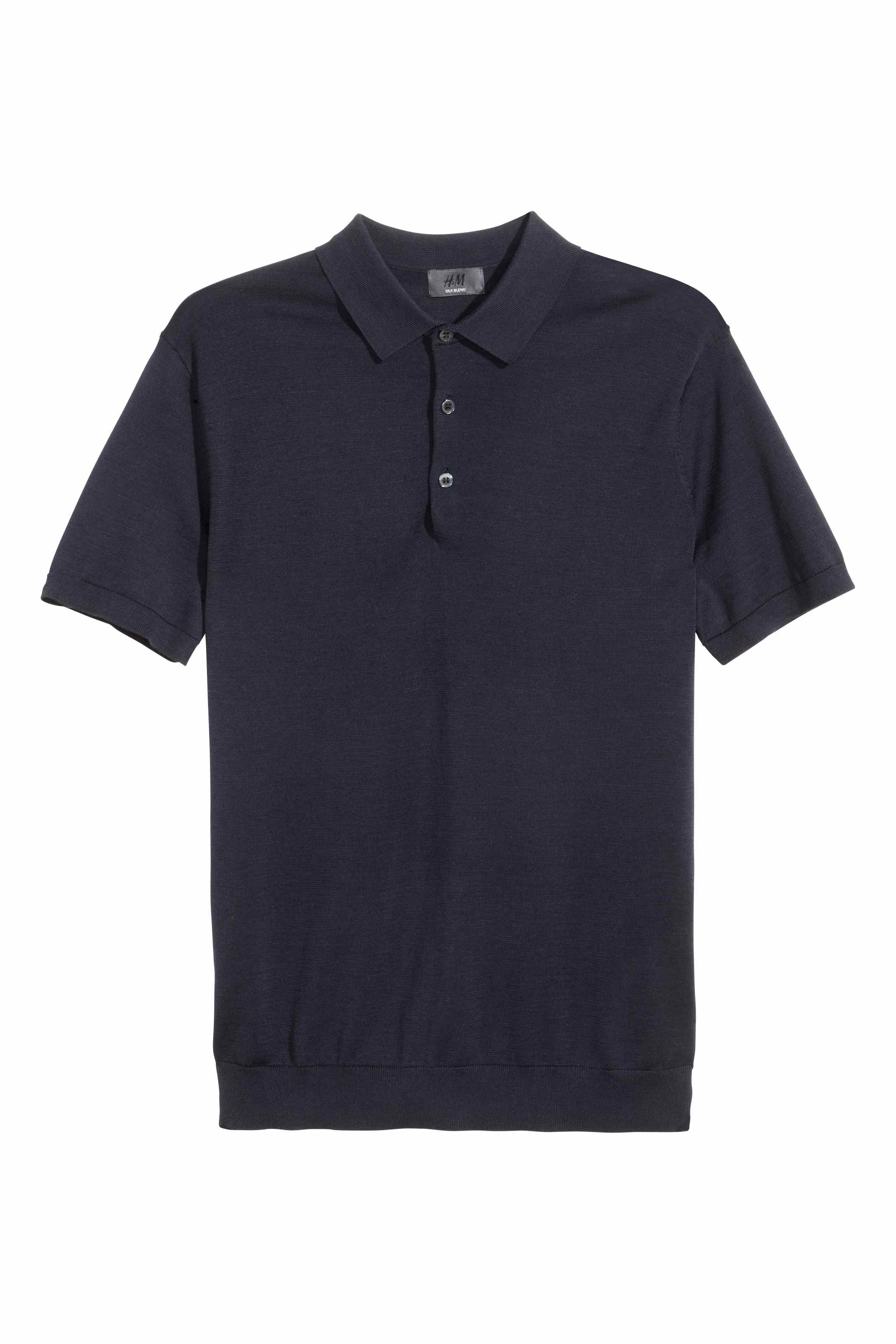H m silk blend polo shirt in black for men lyst for H m polo shirt mens