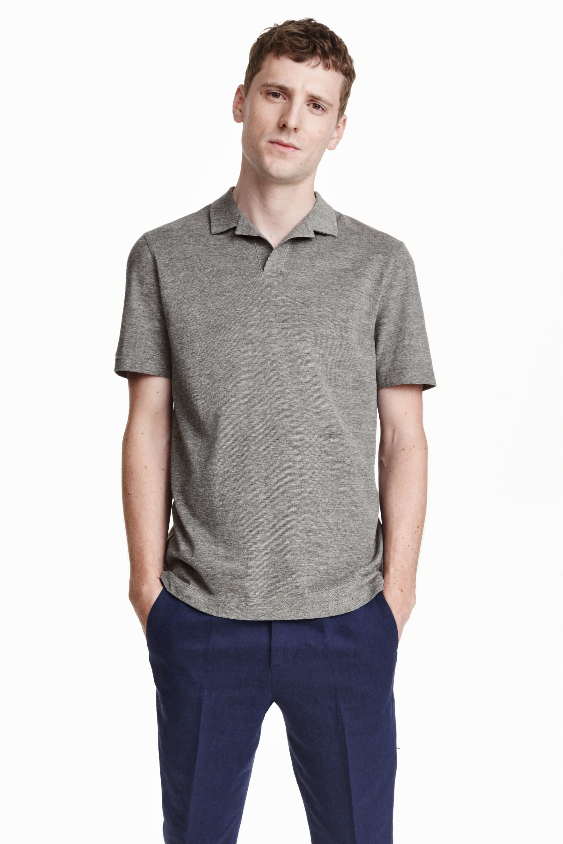 H m polo shirt in premium cotton in gray for men lyst for Bear river workwear shirts