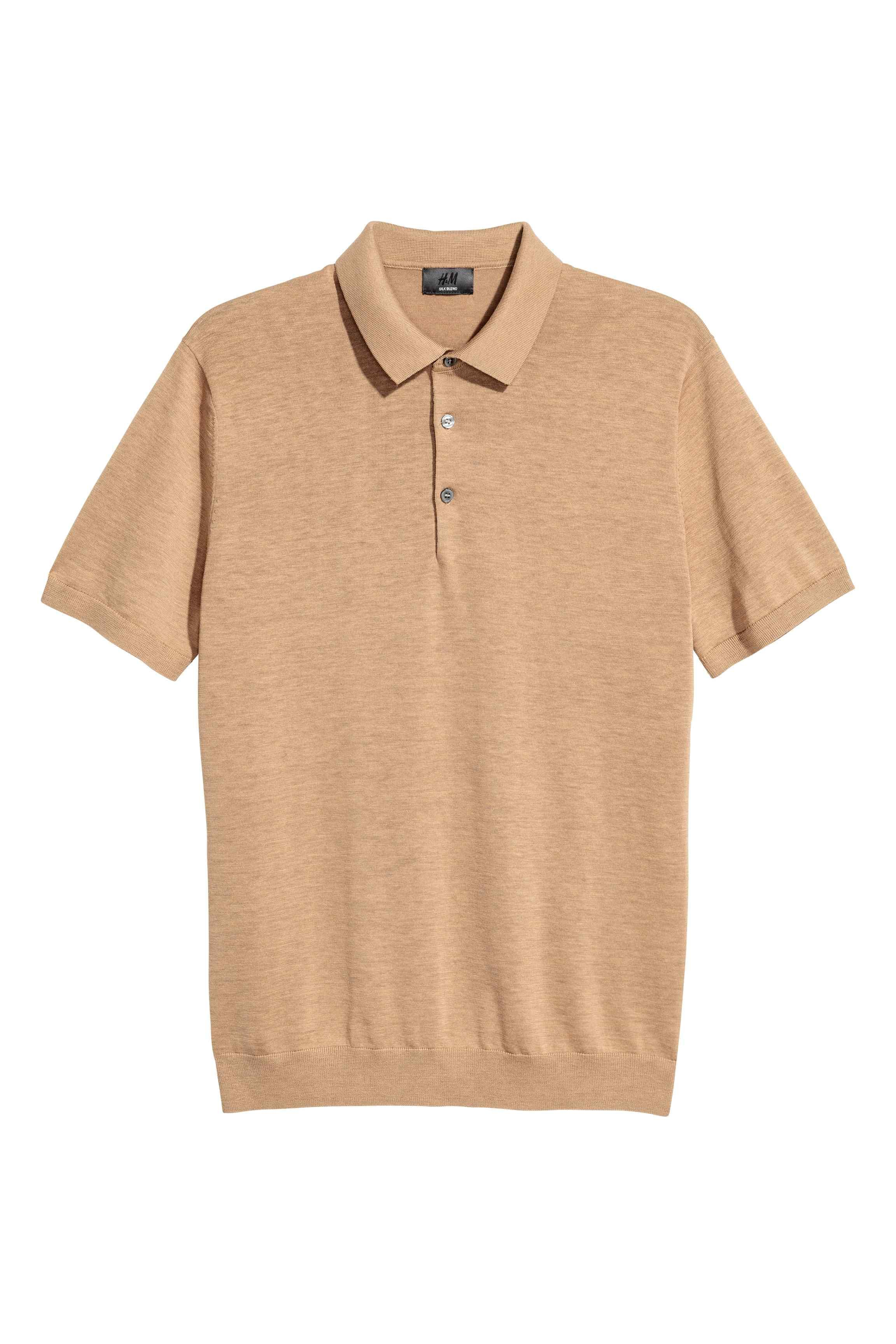 H m silk blend polo shirt in natural for men lyst for H m polo shirt womens