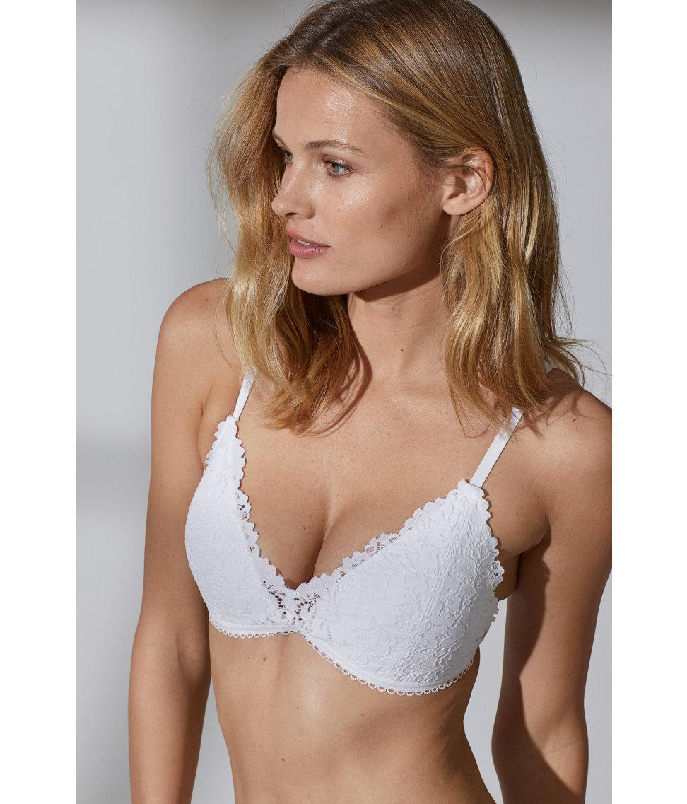 ff25864f5 H M Non-wired Lace Push-up Bra in White - Lyst