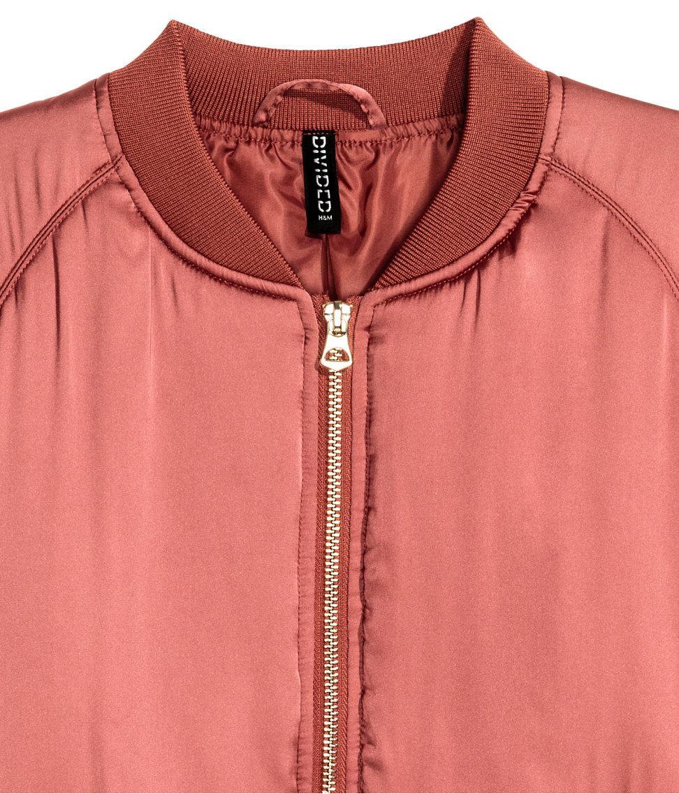 Lyst H Amp M Short Satin Bomber Jacket In Pink