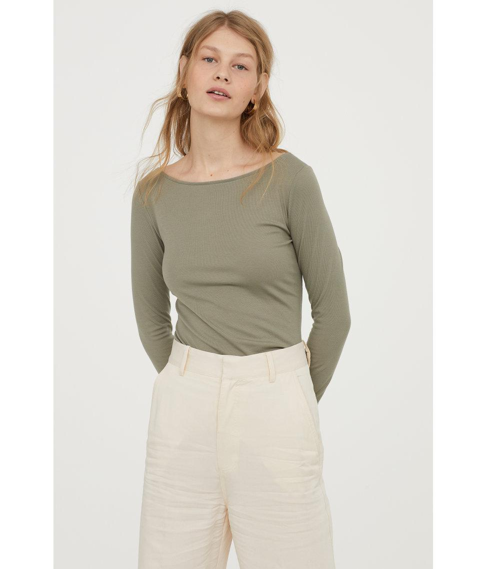 a99b5ede H&M Lyocell-blend Jersey Top in Green - Lyst