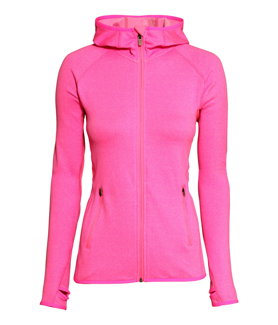 Lyst H Amp M Fleece Jacket With A Hood In Pink