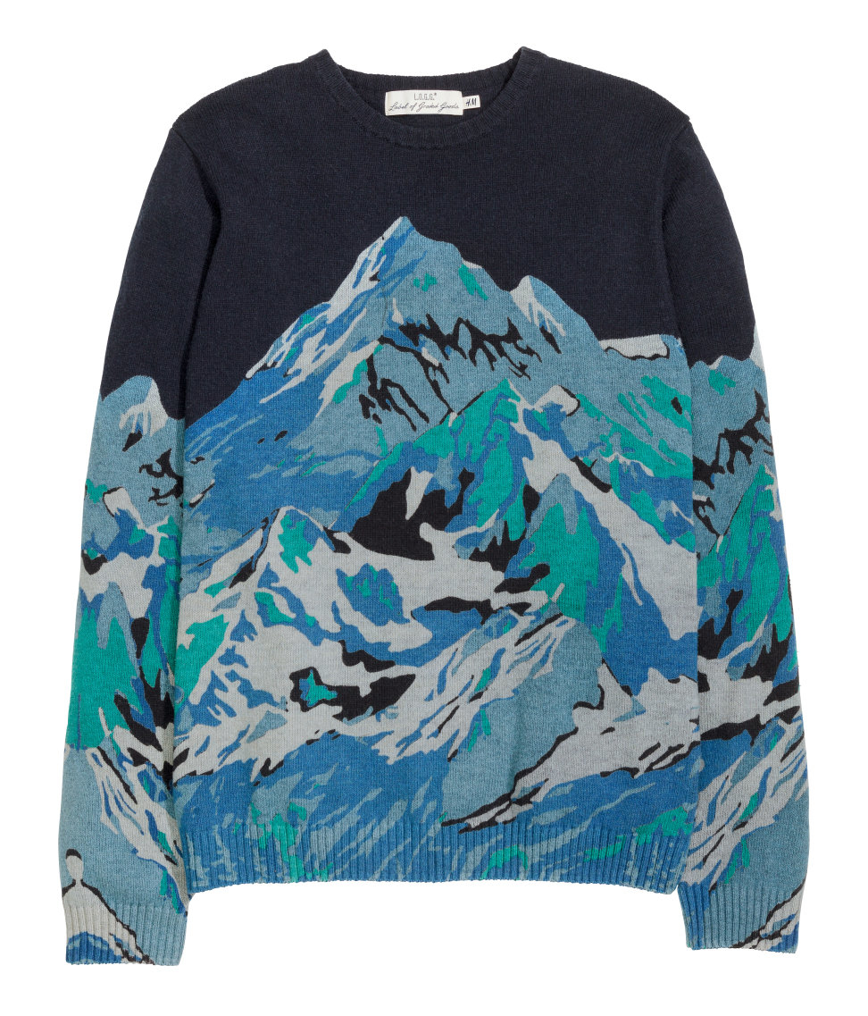 lyst h m knitted patterned jumper in blue for men