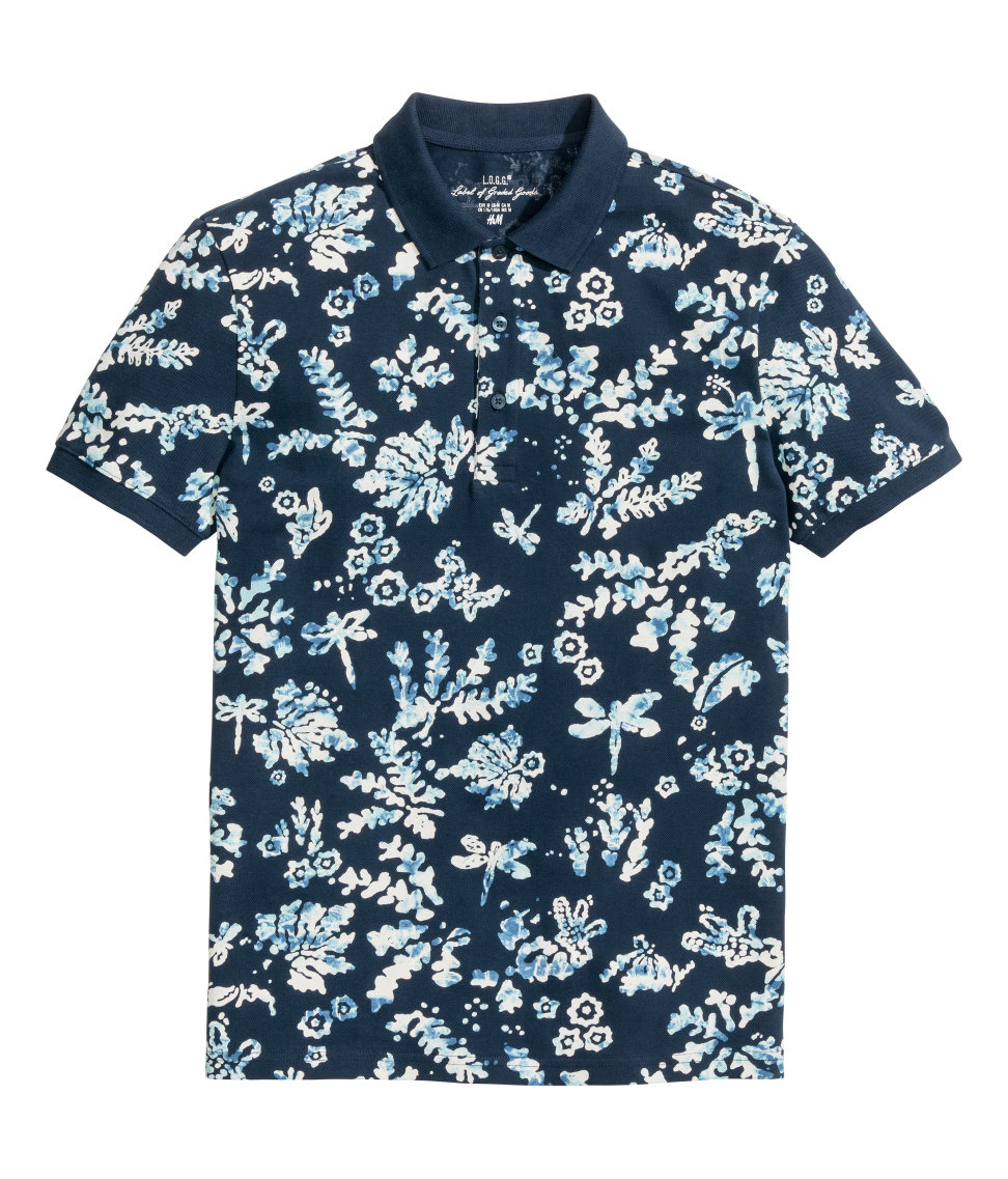 H m printed polo shirt in blue for men lyst for H m polo shirt mens