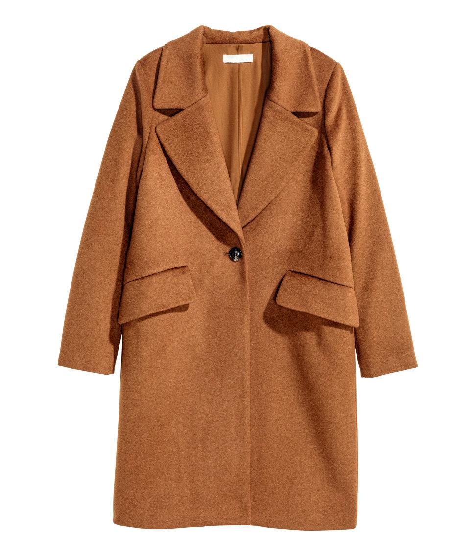 Lyst H Amp M Wool Blend Coat In Brown