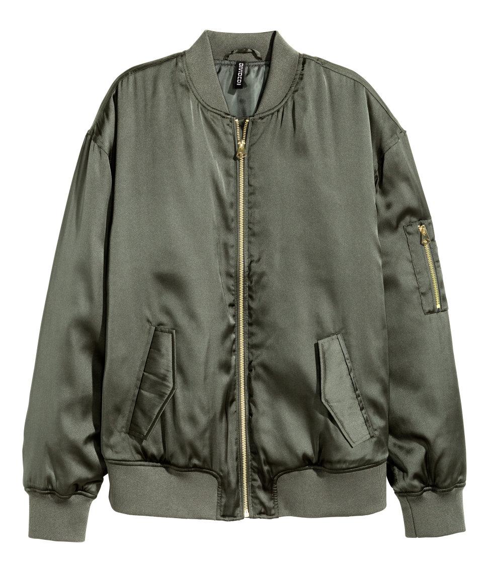Hu0026m Satin Bomber Jacket In Green | Lyst