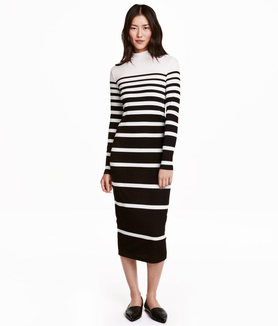 Black and white striped maxi dress h&m landing