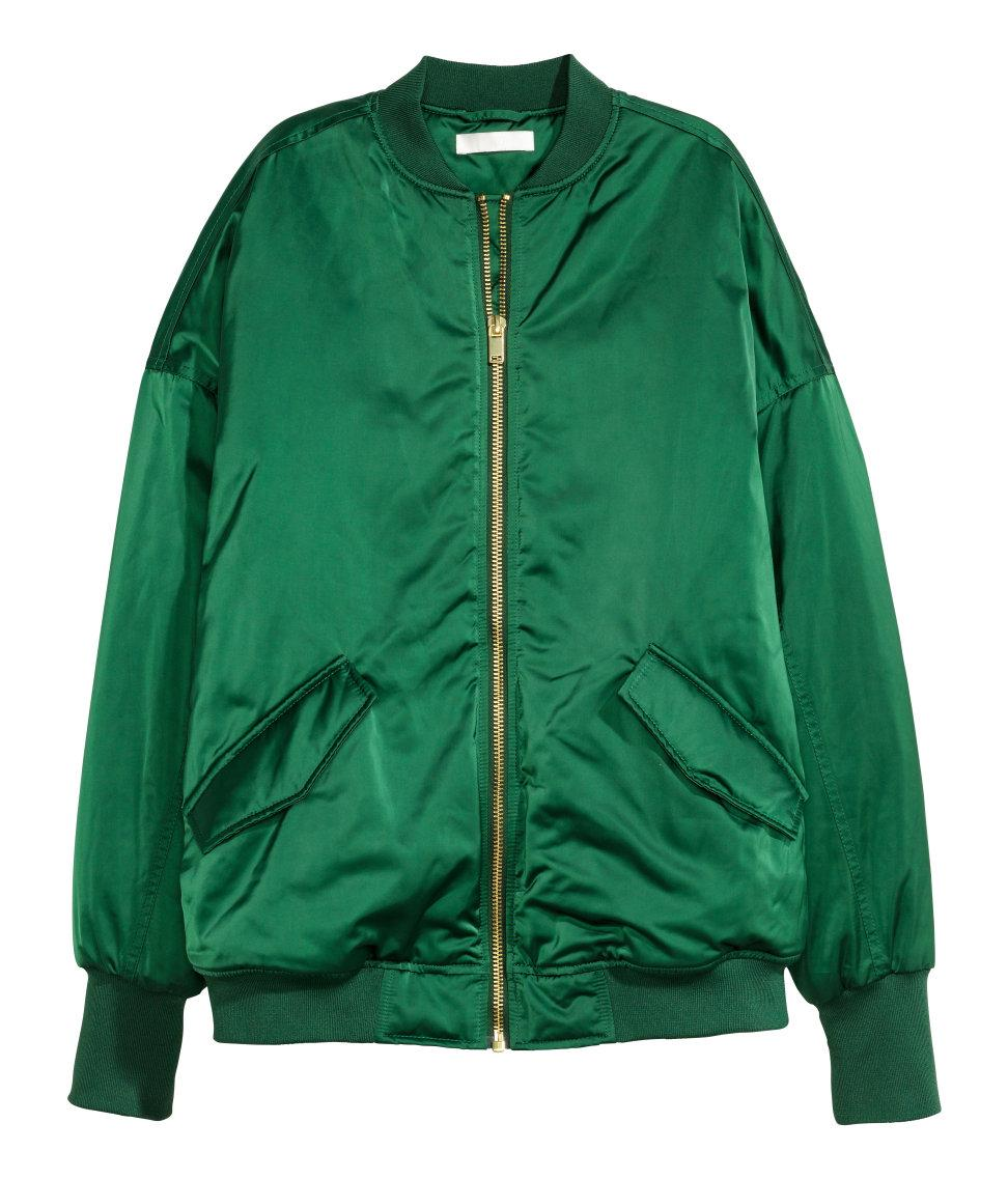 H Amp M Oversized Bomber Jacket In Green Lyst