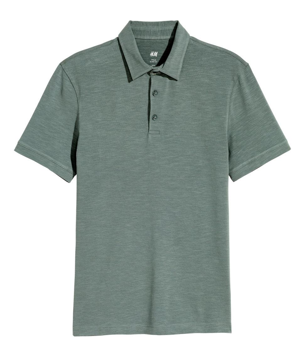 Lyst h m polo shirt slim fit in green for men for H m polo shirt mens