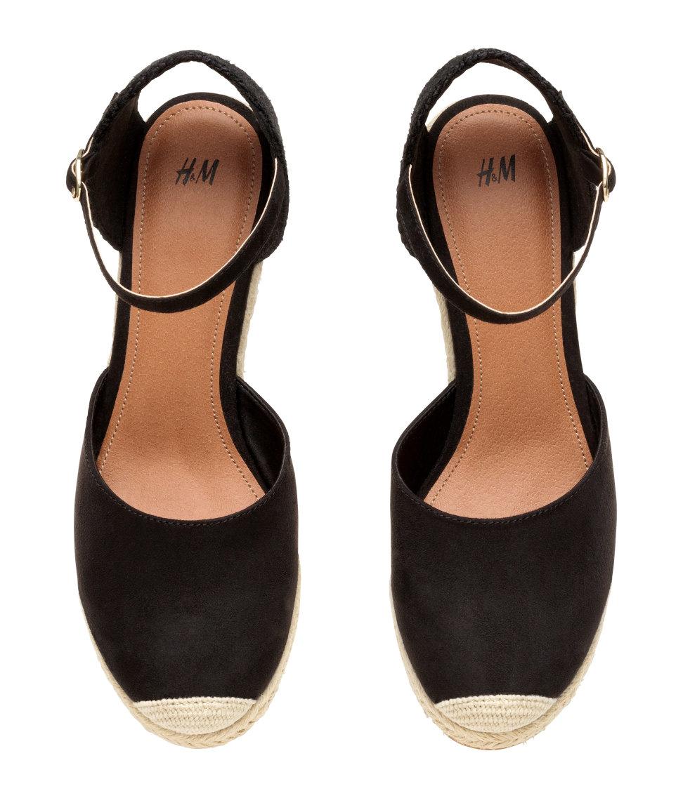 038148fdaa H&M Wedge Heel Espadrilles in Black - Lyst