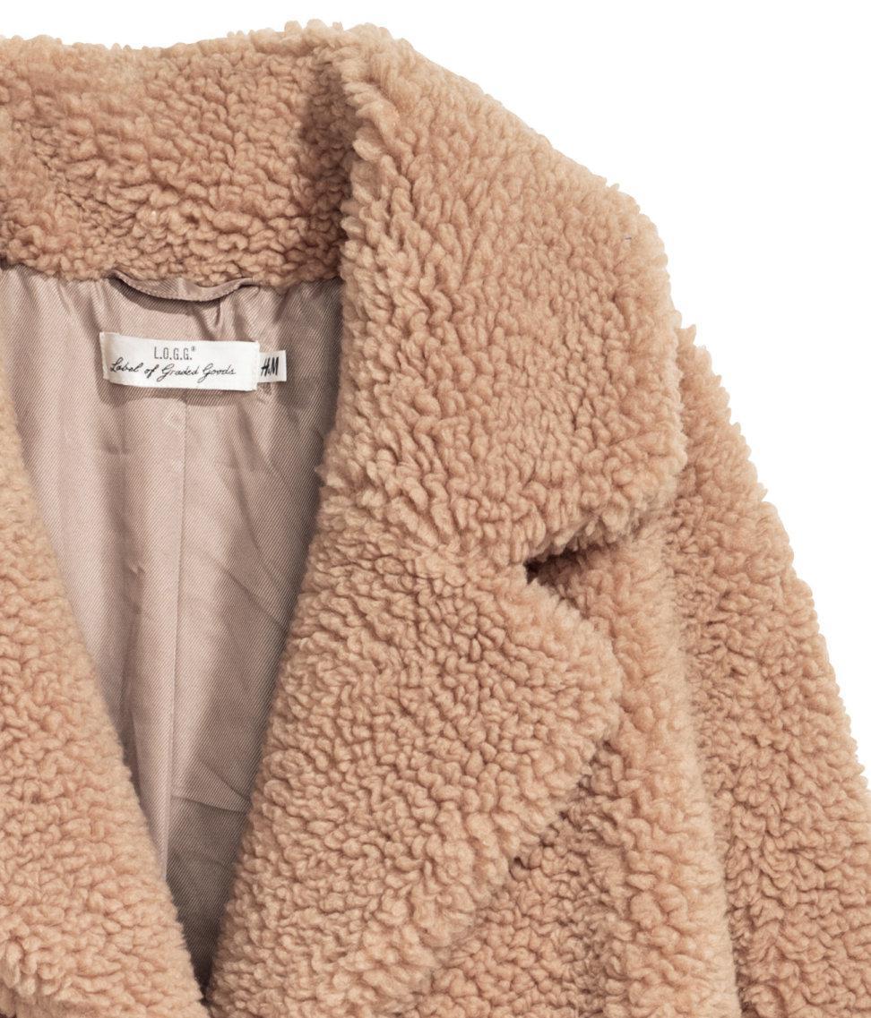 Lyst H Amp M Long Pile Coat In Natural