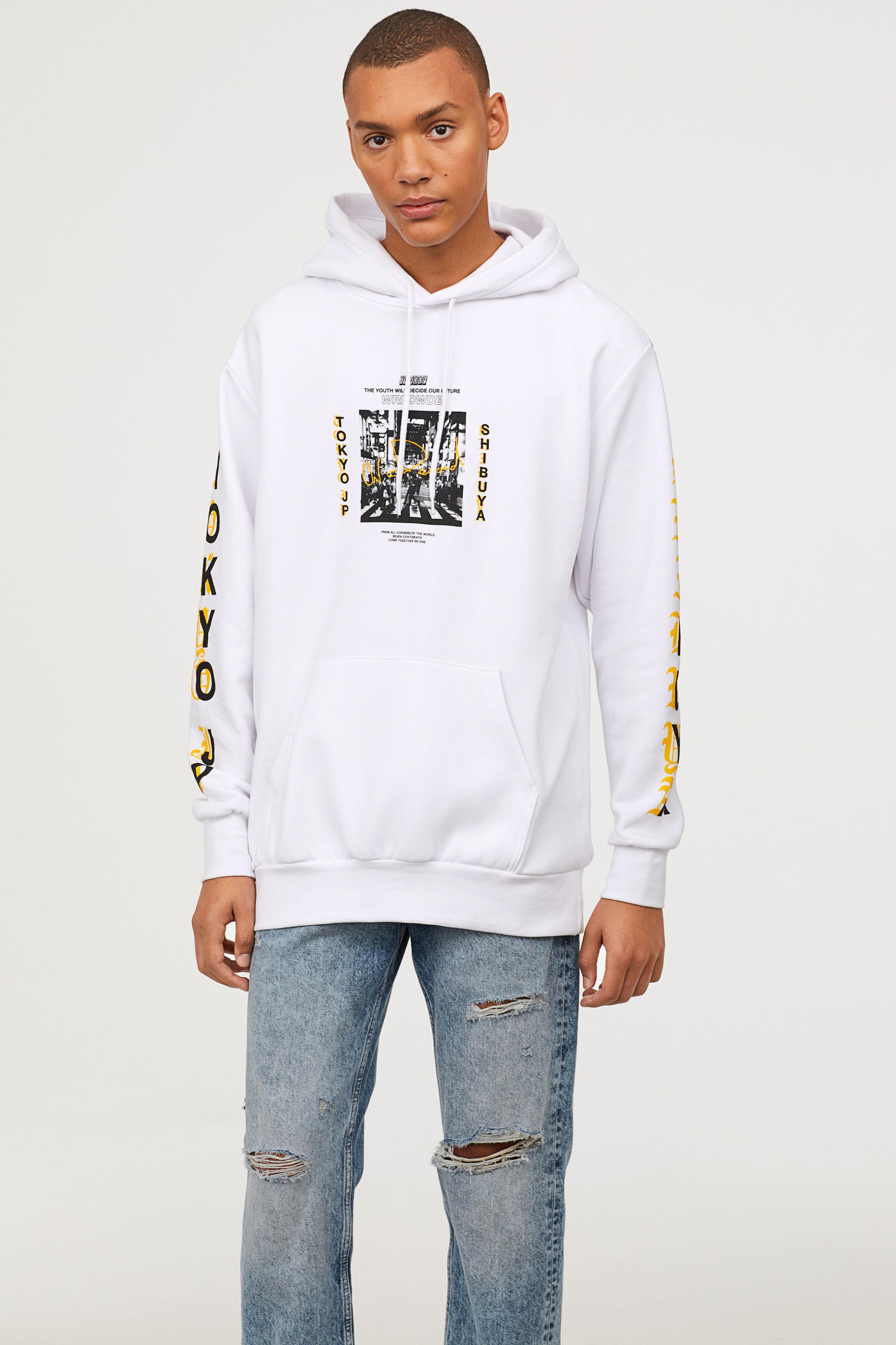 e3c9b38ce H&M Hooded Sweatshirt in White for Men - Lyst