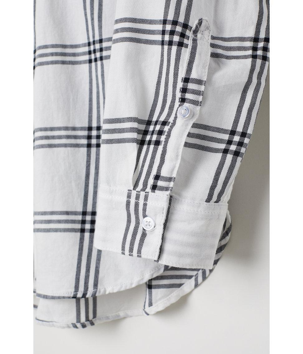 5036fa9877a69 H&M Checked Shirt in White - Lyst