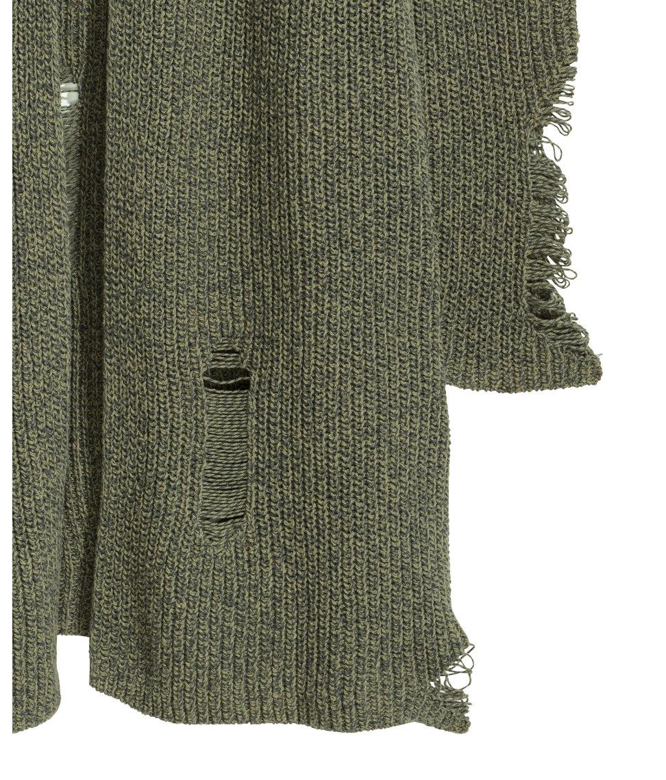 H&m Trashed Hooded Cardigan in Green | Lyst