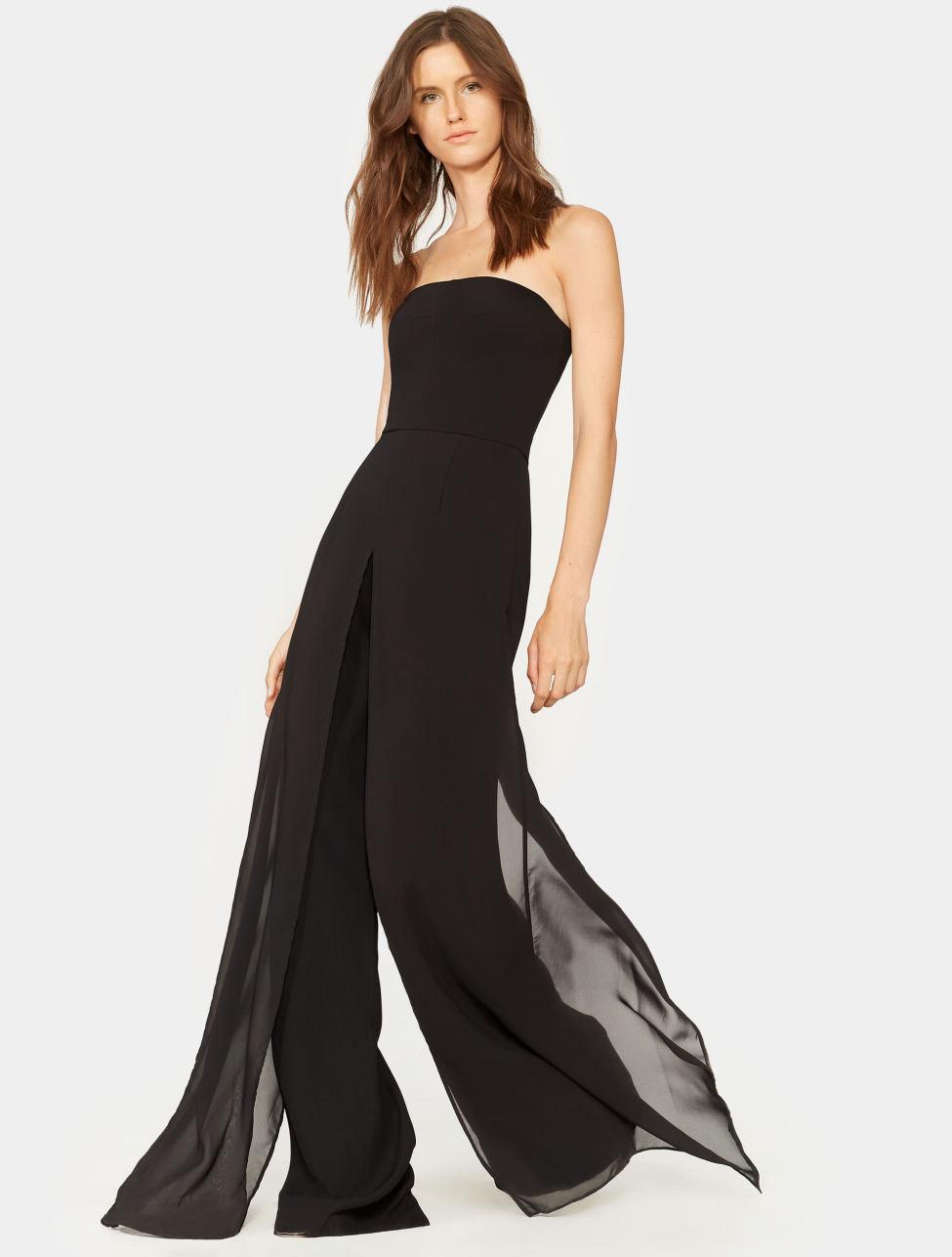 d24741242983 Halston Chiffon Overlay Strapless Jumpsuit in Black - Lyst