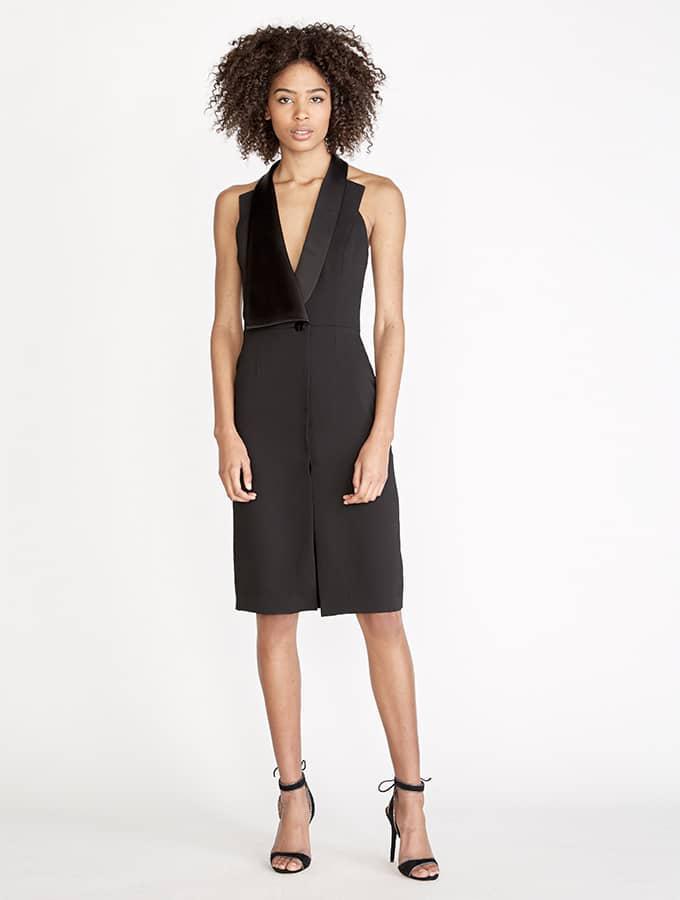 8ce406c4bbba Lyst - Halston Crepe / Satin Tuxedo Dress in Black
