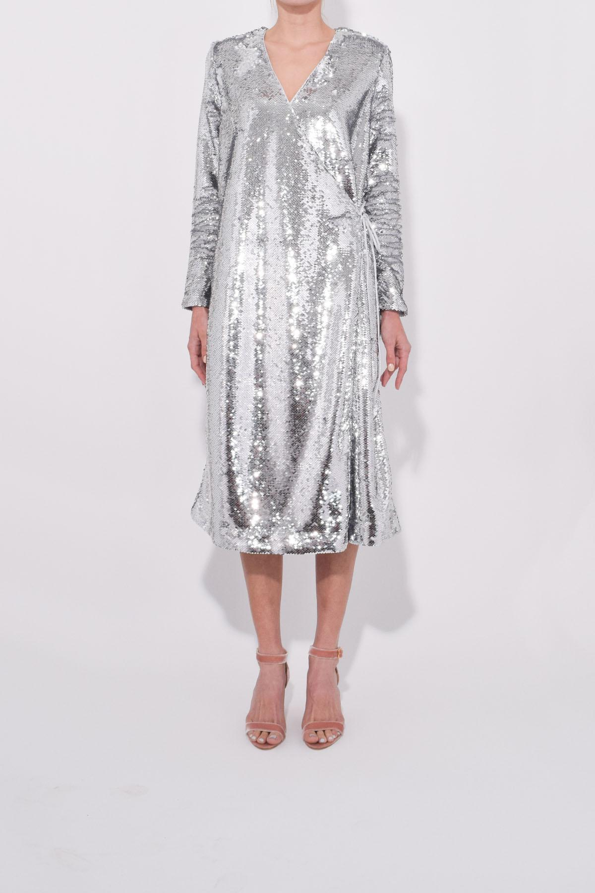 e2c10910 Ganni Sequins Wrap Dress in Metallic - Save 43% - Lyst