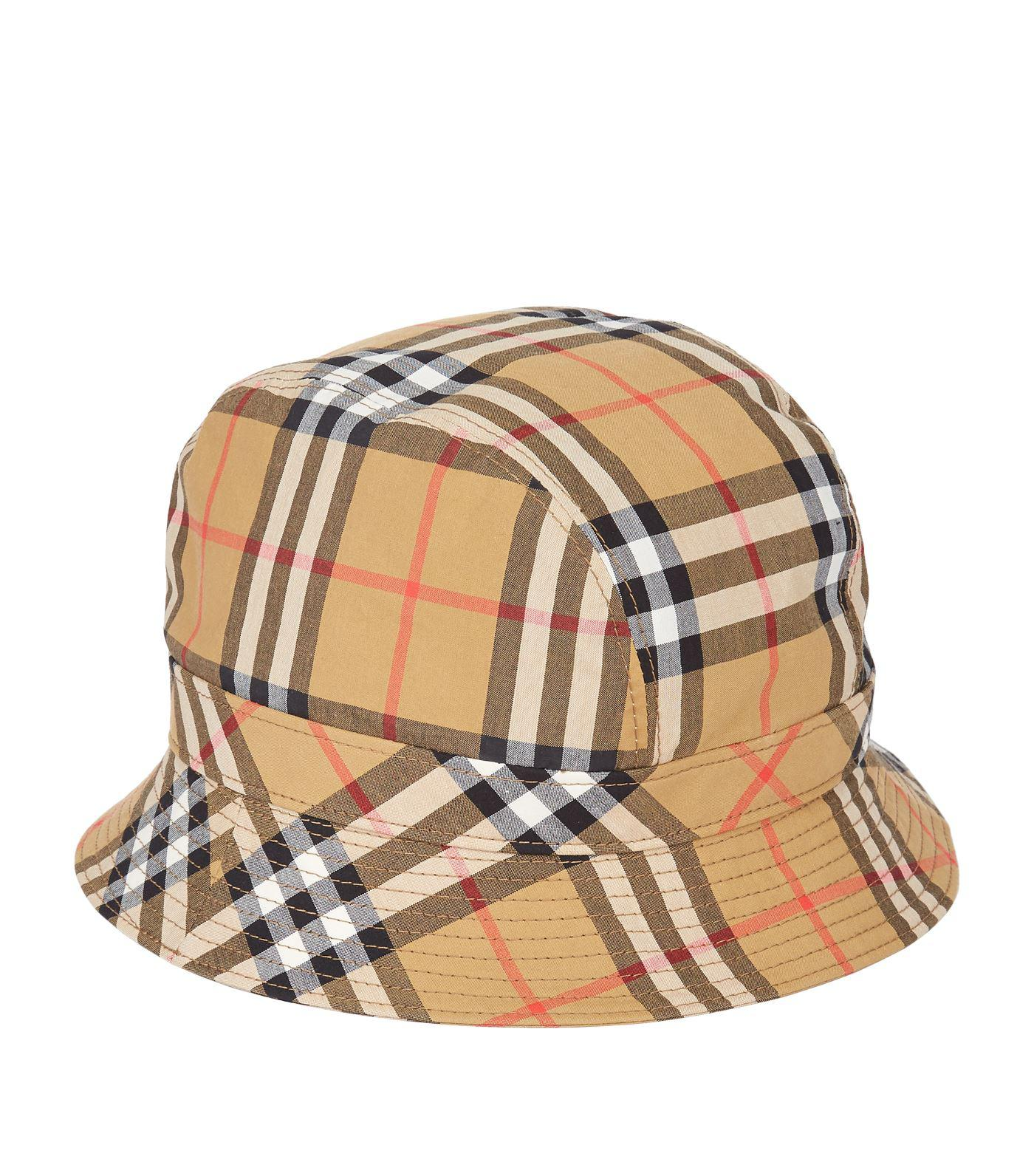 08c57717b65 Burberry Vintage Check Bucket Hat in Yellow - Lyst