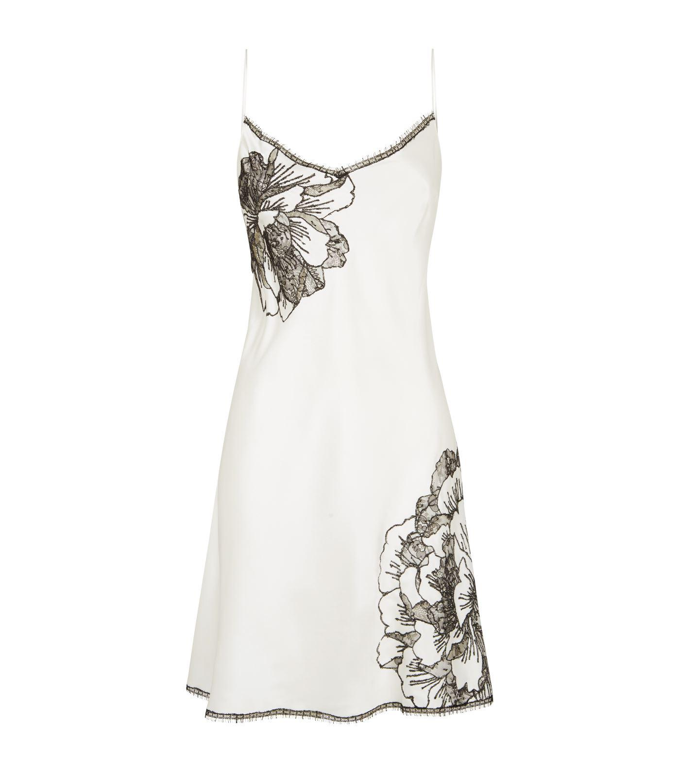 76b36a49004a Lyst - Carine Gilson Silk Lace Robe in White