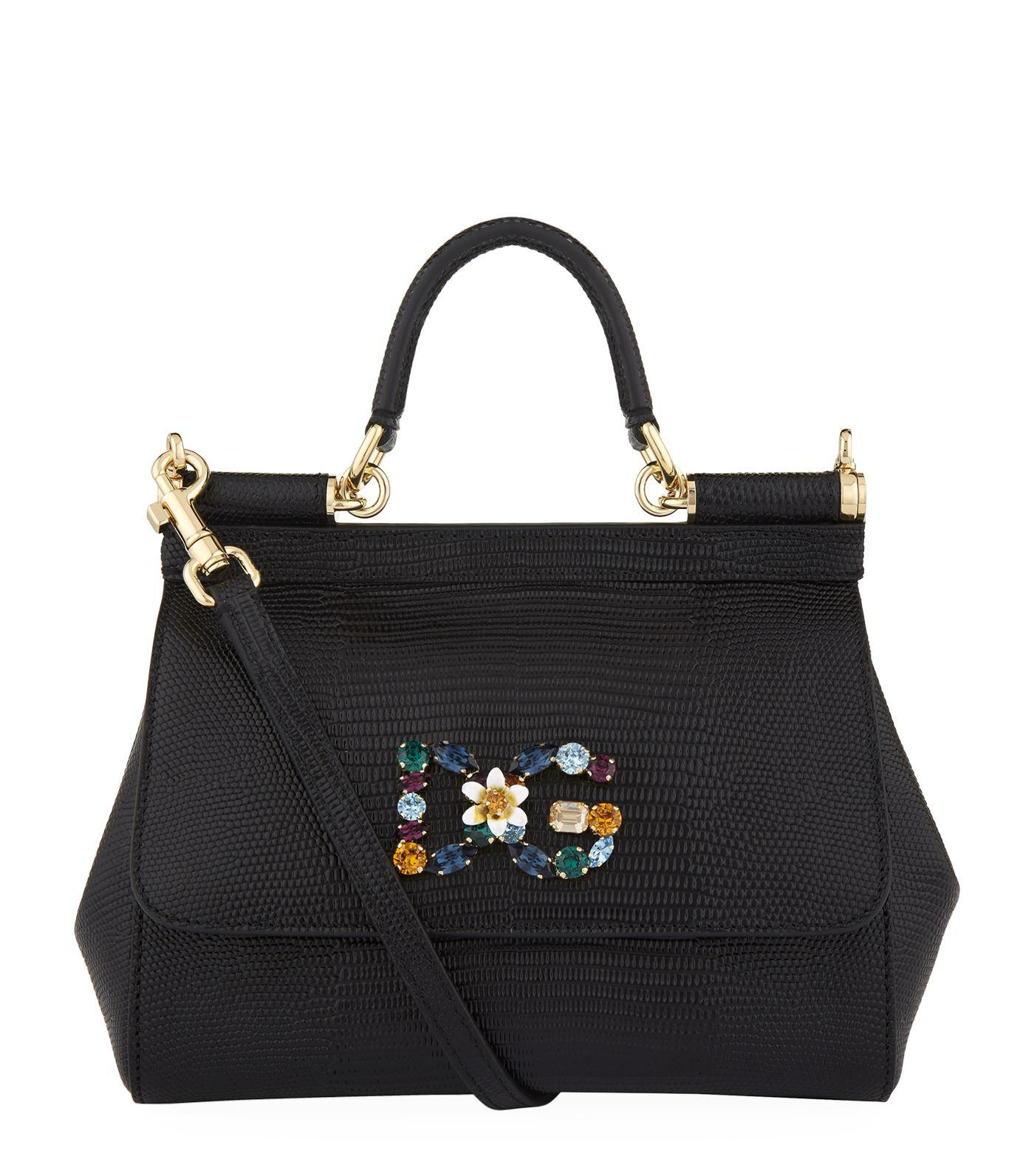 a98c47ffe7f6 Dolce   Gabbana Mini Embellished Sicily Bag in Black - Lyst