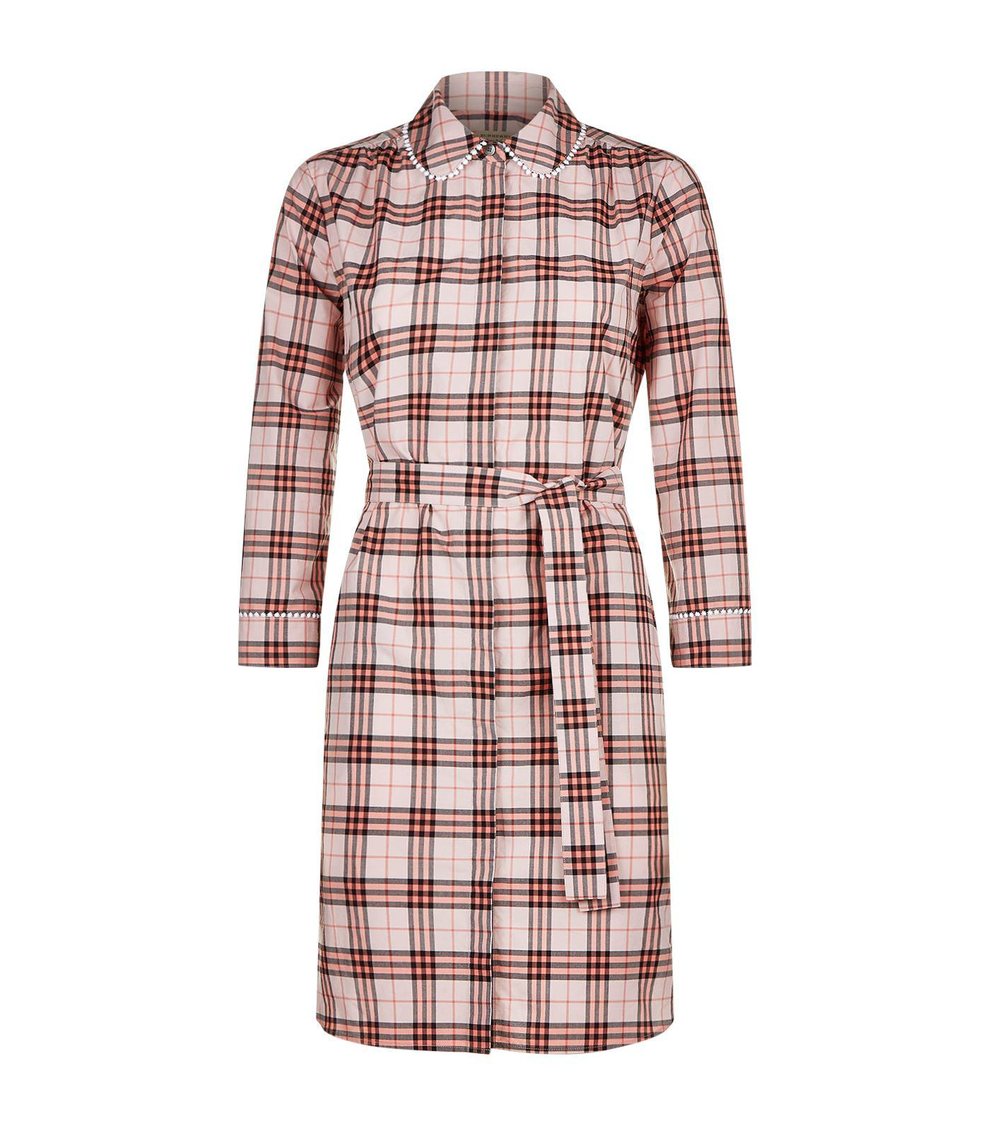 Lyst Burberry Check Shirt Dress In Pink