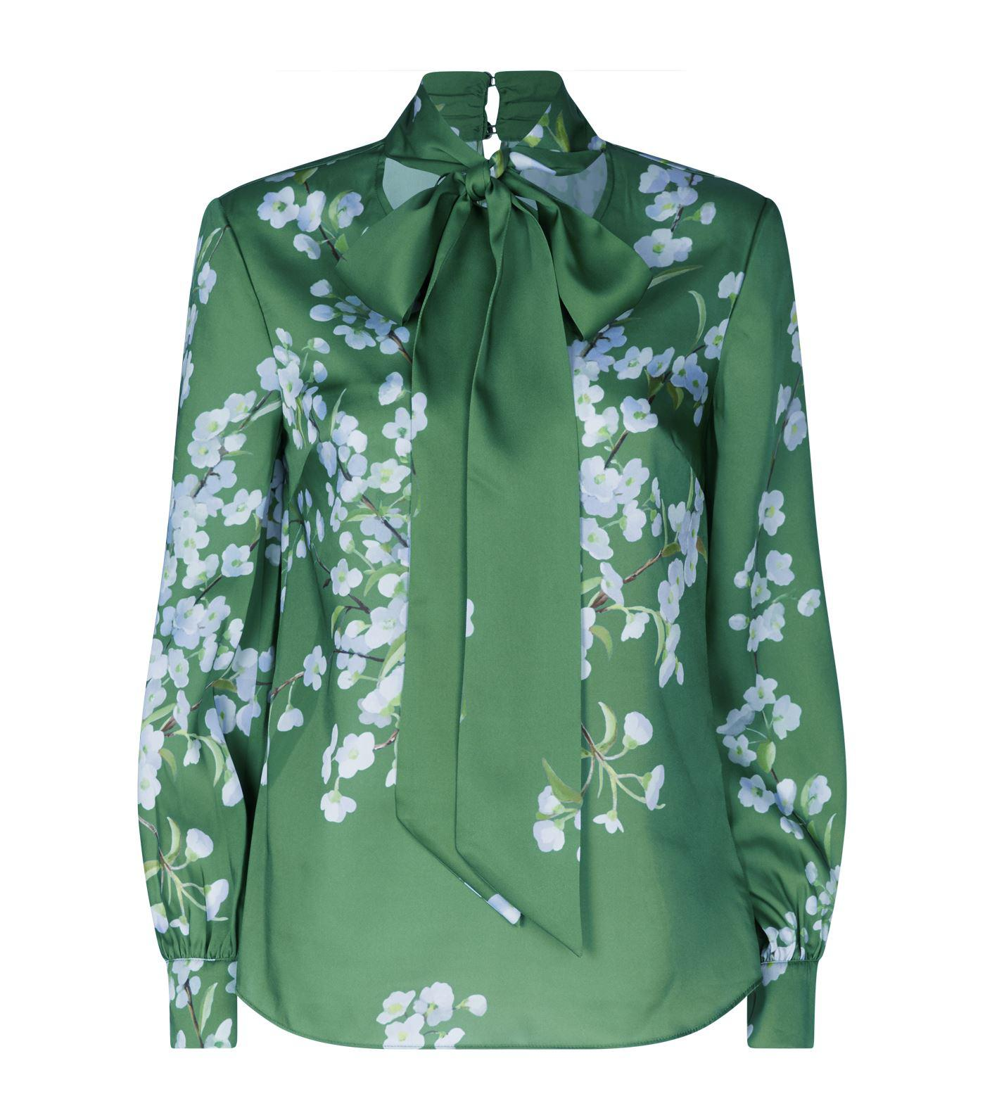 99feabc3b1687 Lyst - Ted Baker Johsie Graceful Ruffle Full Sleeve Top in Green ...