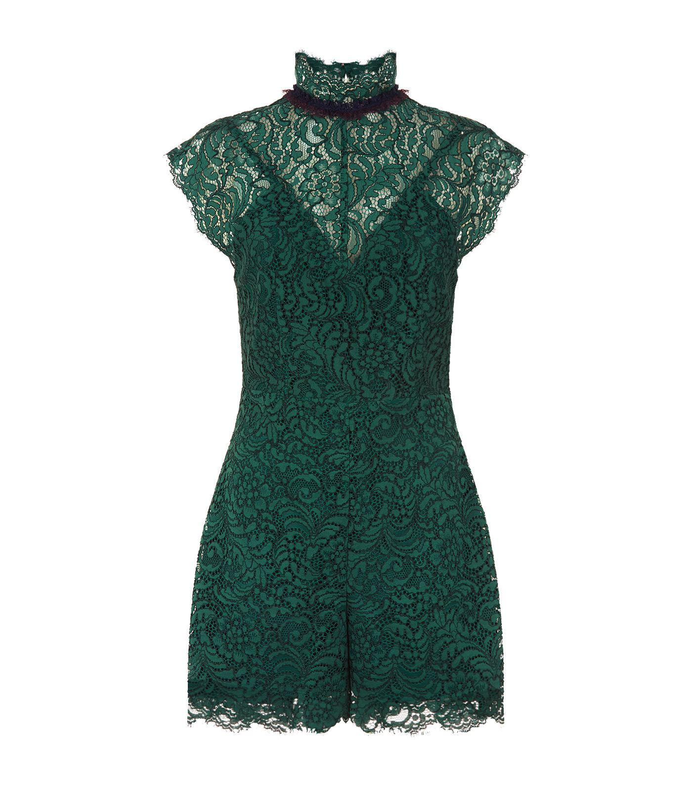 31a590db960 Lyst - Sandro Ruffle Trim Lace Playsuit in Green