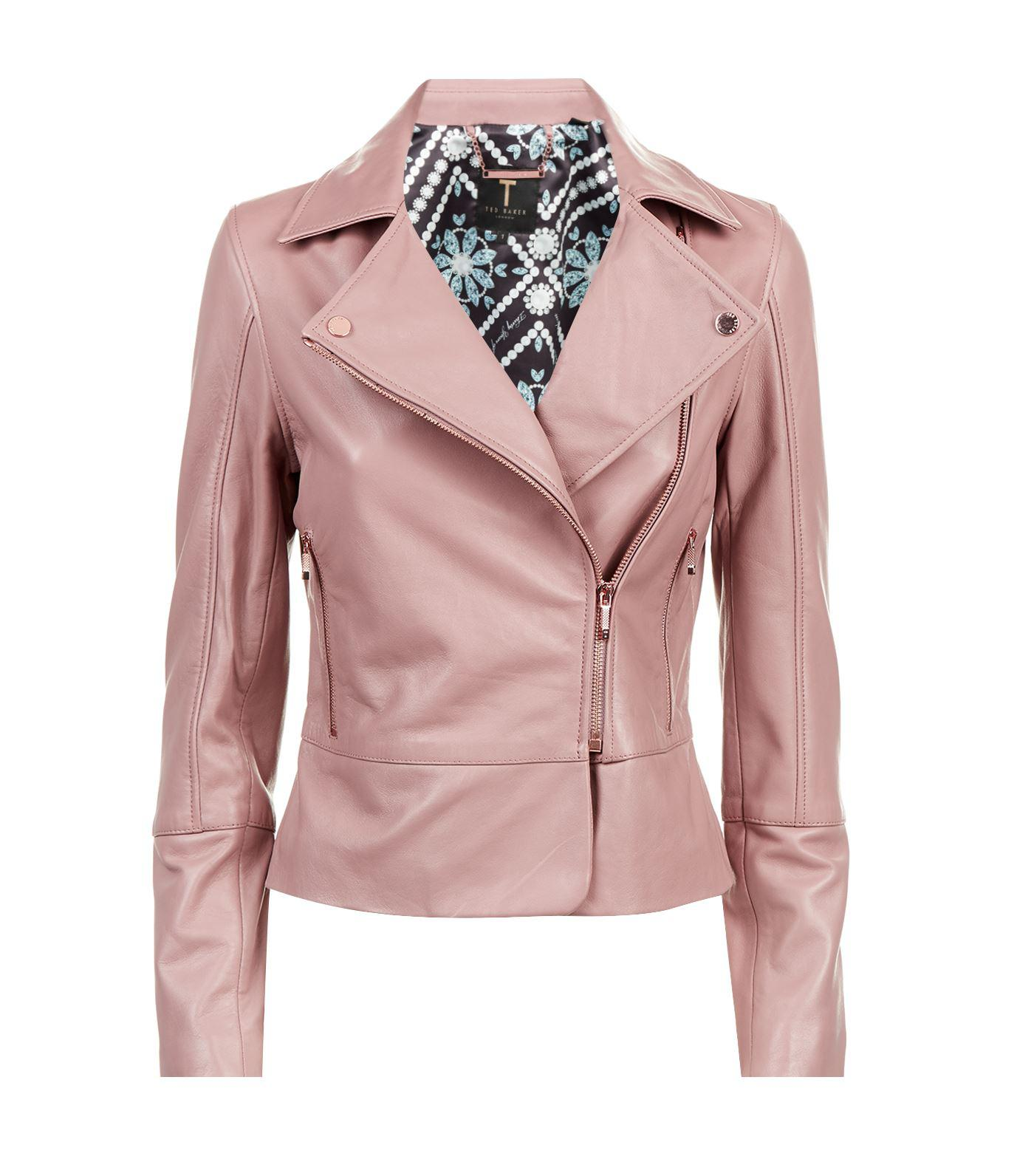 9dab833b9 Ted Baker Leather Jacket in Pink - Lyst