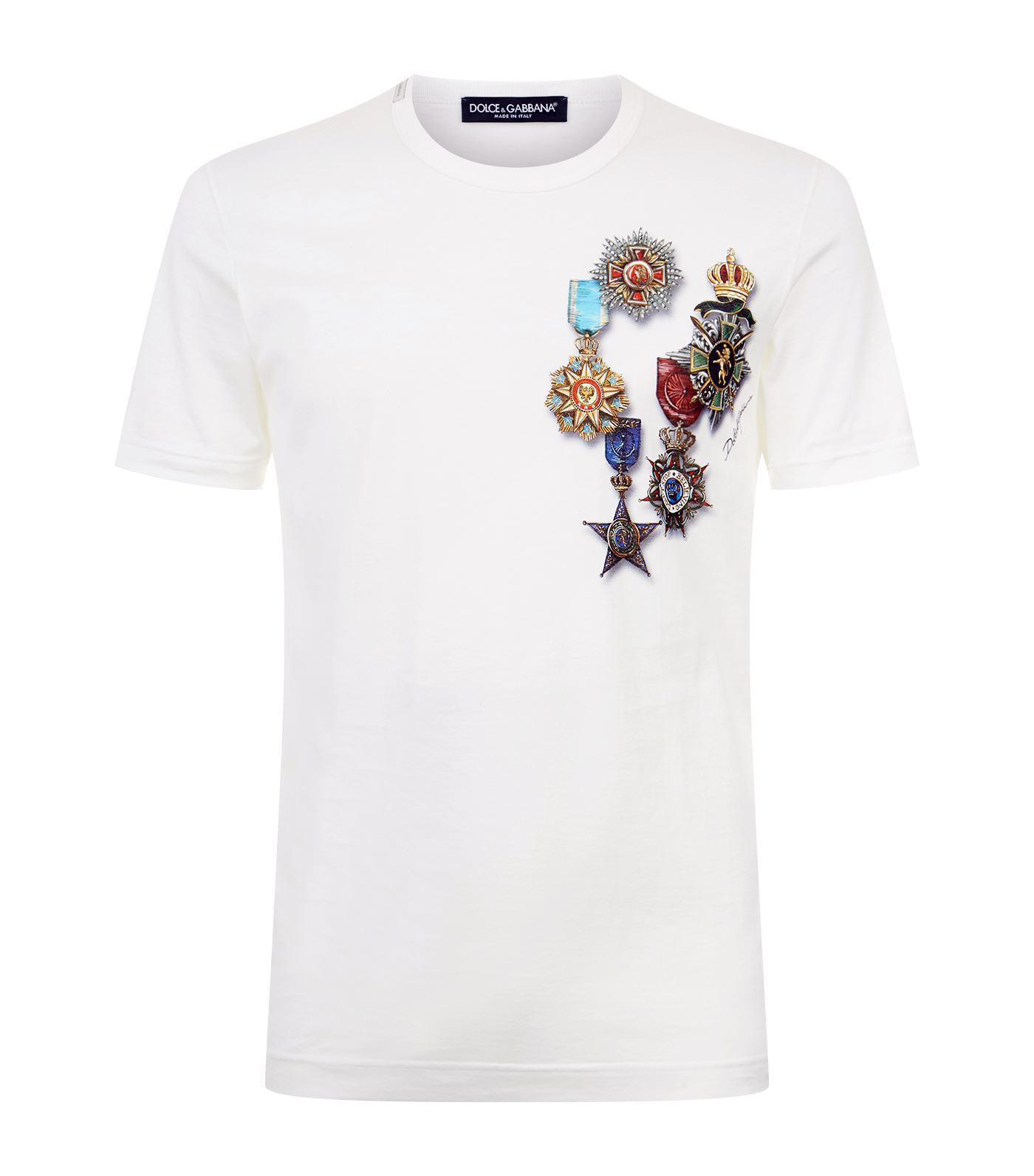 9da5f23fb Dolce & Gabbana Medal Printed T-shirt in White for Men - Lyst