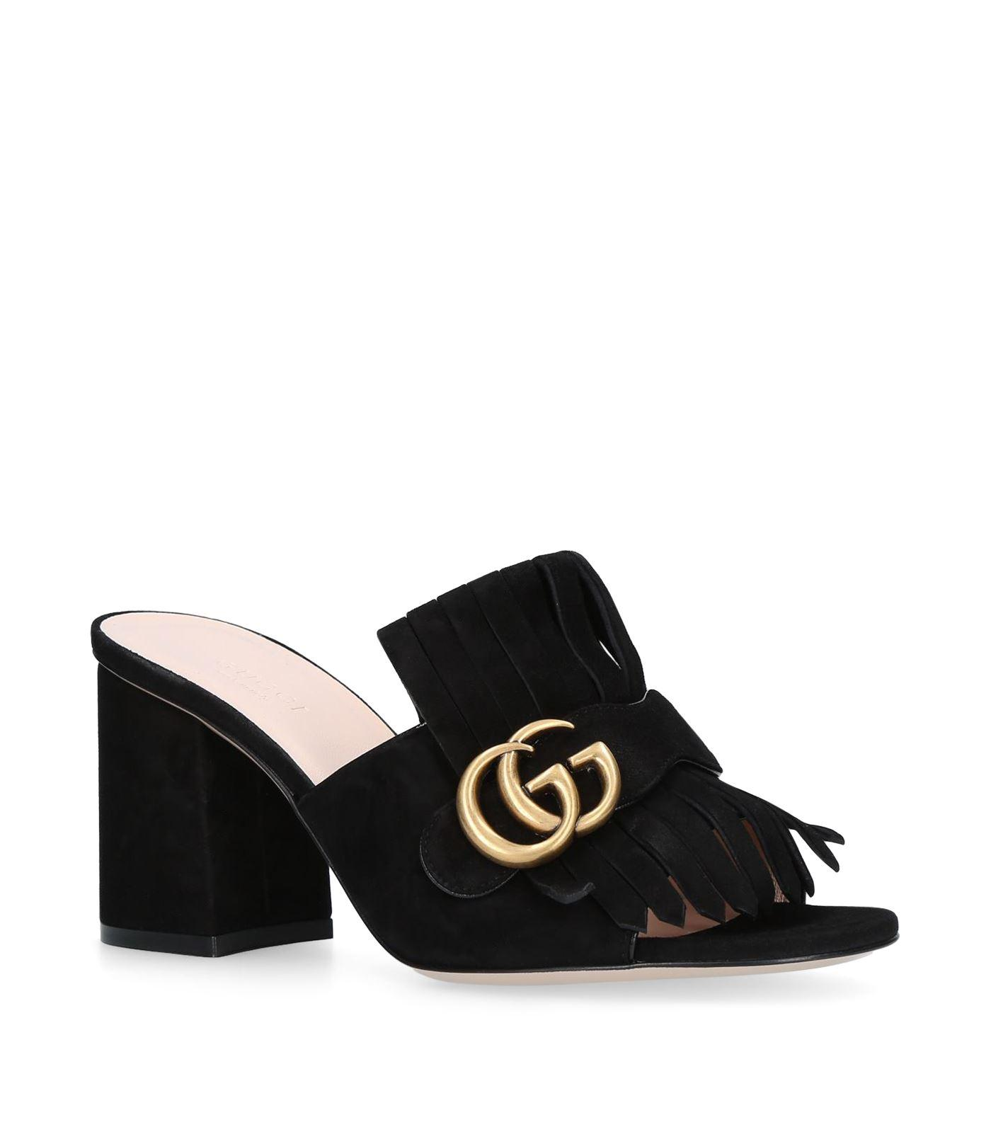 aa53fd117951 Gucci Marmont 75 Suede Mules in Black - Save 17% - Lyst