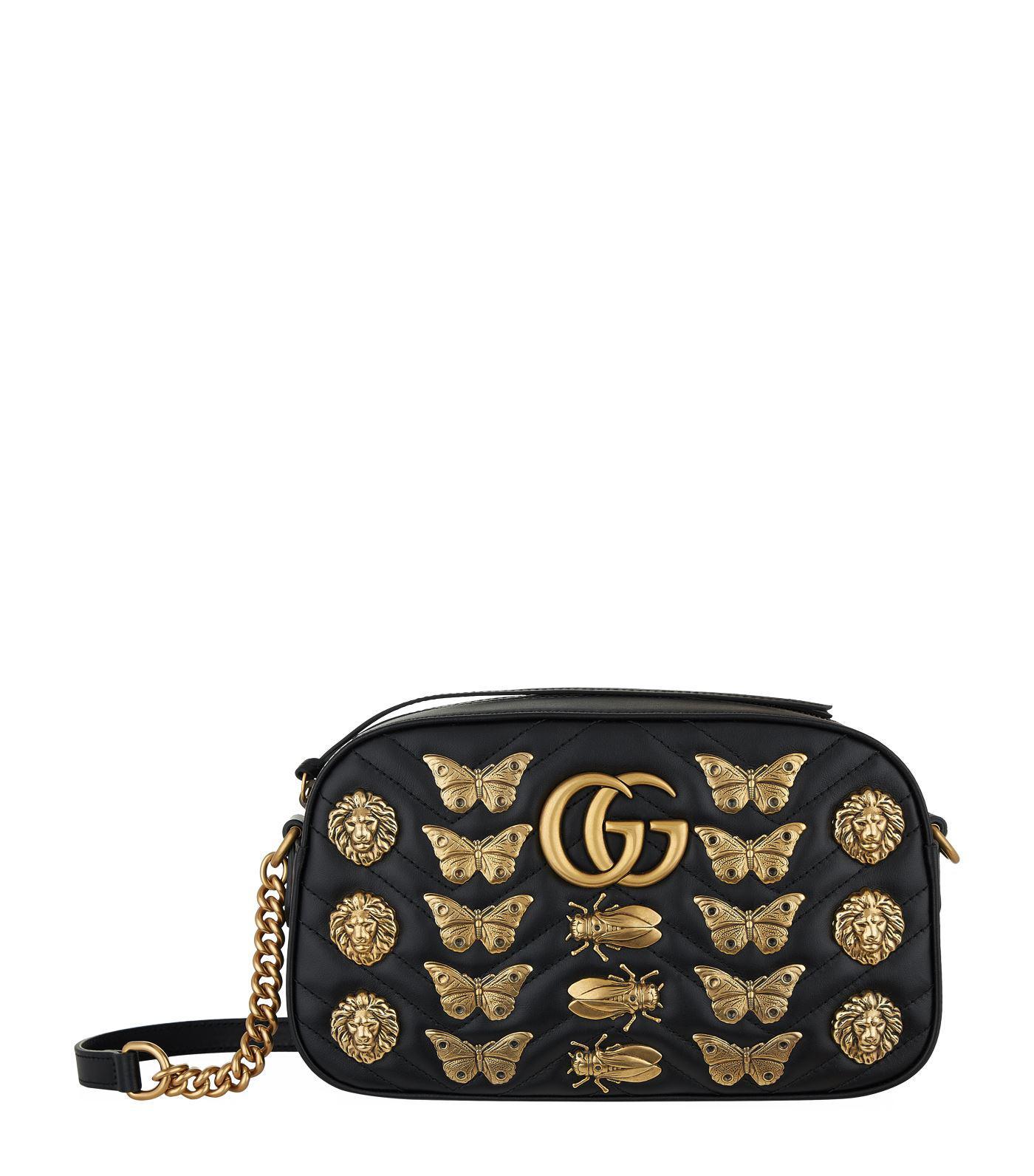 baae4241c37 Lyst - Gucci Marmont Bug Matelass Shoulder Bag in Black