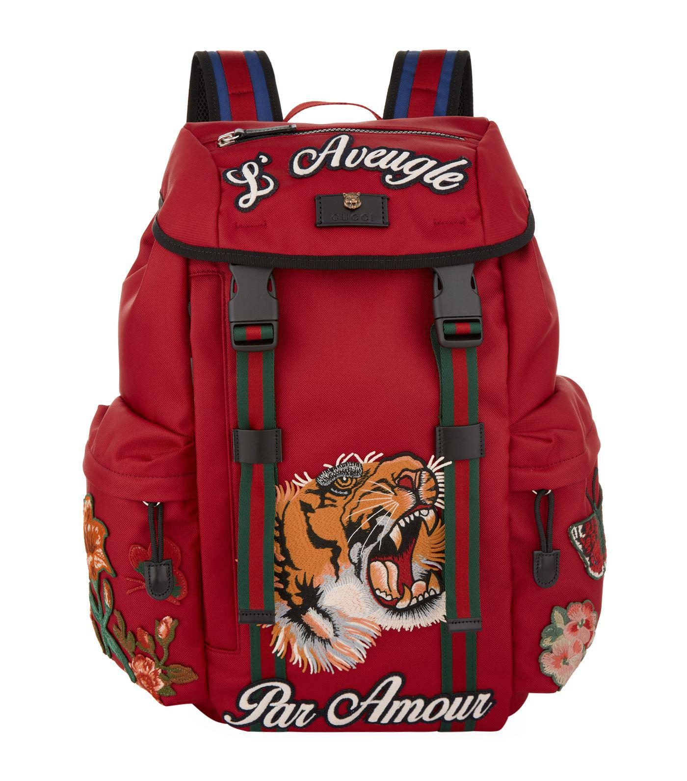04e42efaf6b2 Lyst - Gucci Embroidered Backpack in Red for Men