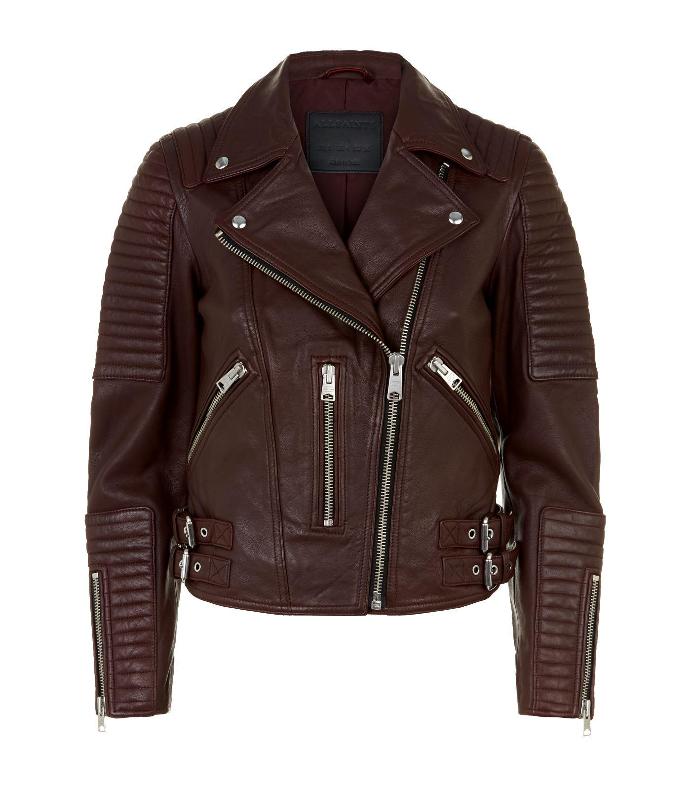 9a3cd631dc2b Lyst - AllSaints Estella Leather Biker Jacket in Red