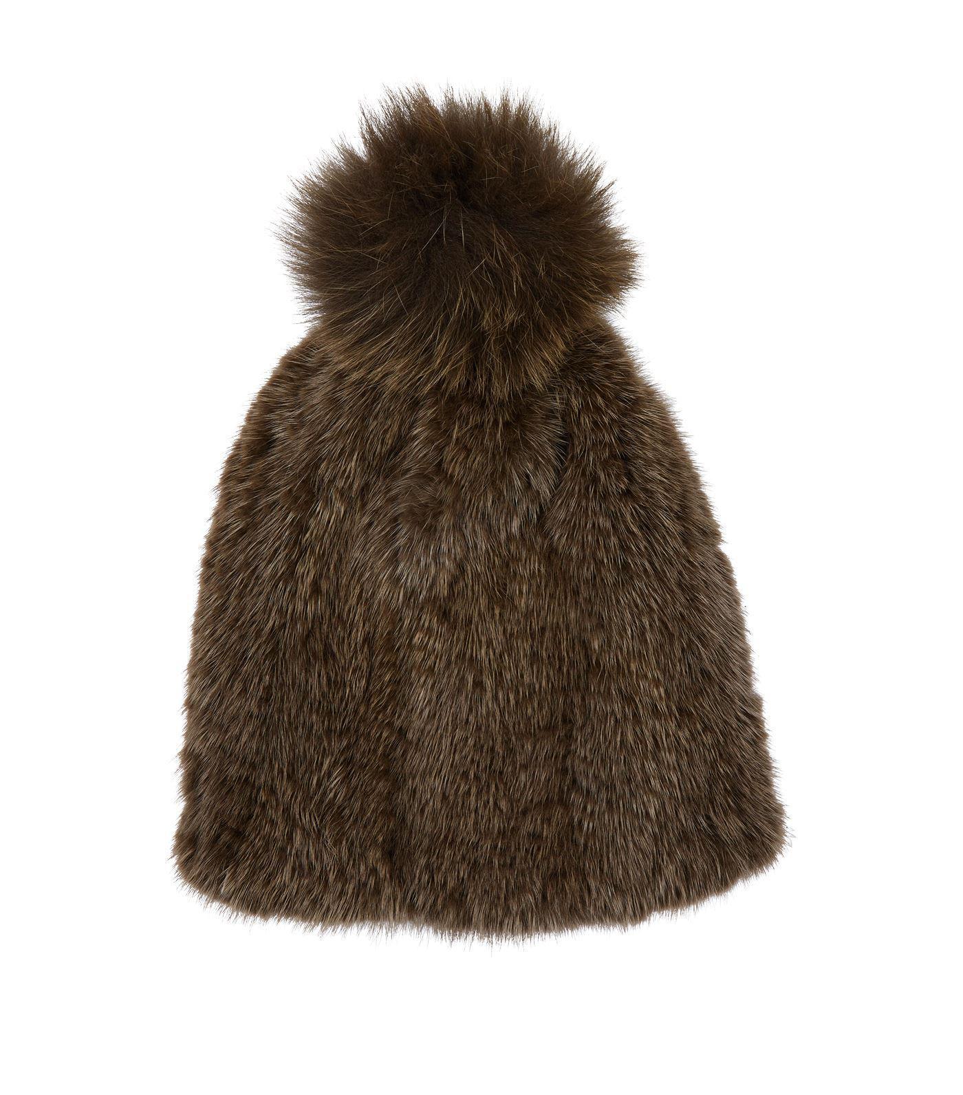 07068b3310e Lyst - Yves Salomon Mink Fur Pom Pom Hat in Green