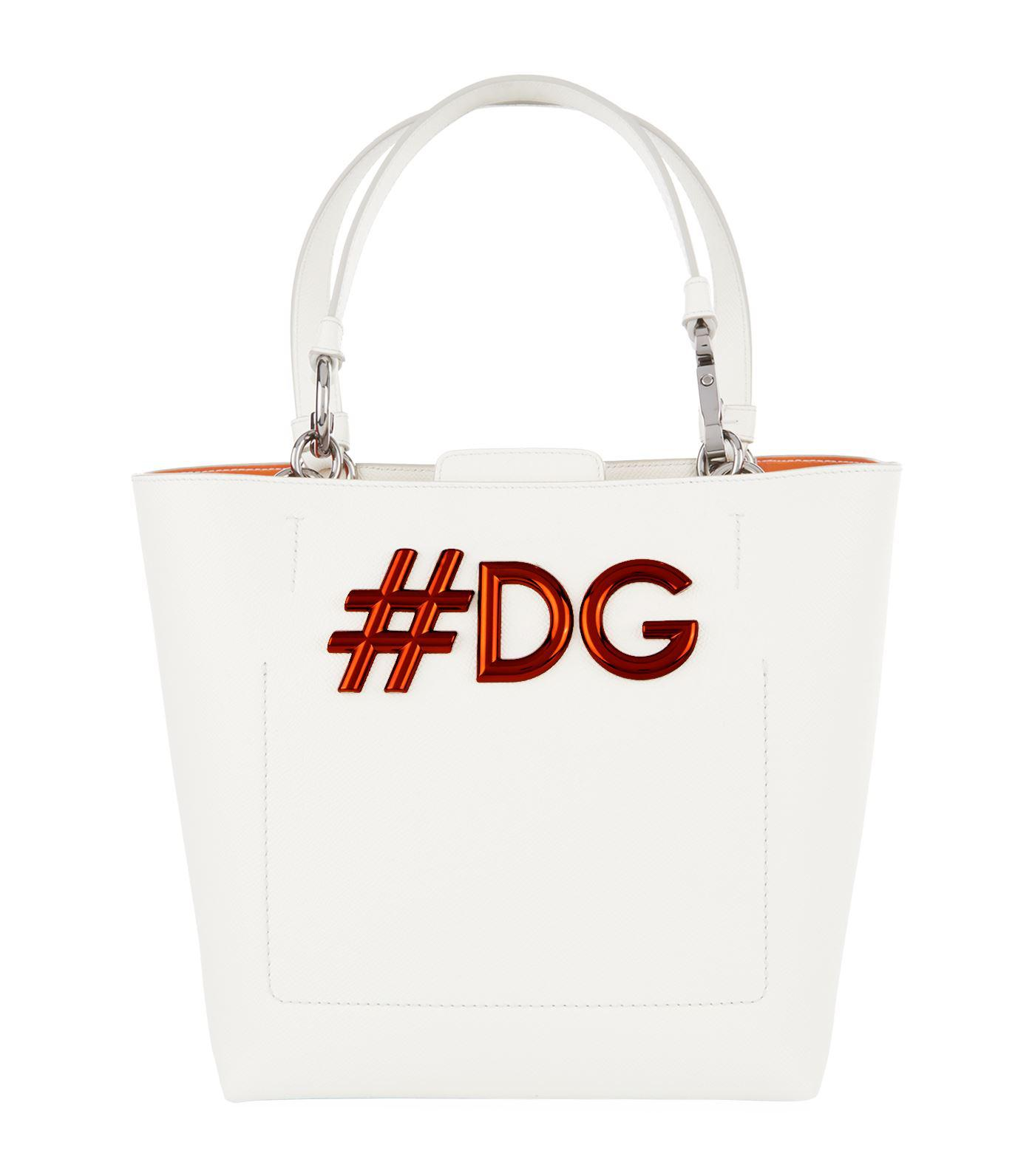 Lyst - Dolce   Gabbana Small Leather Beatrice Tote Bag, White in White 8dedf60802